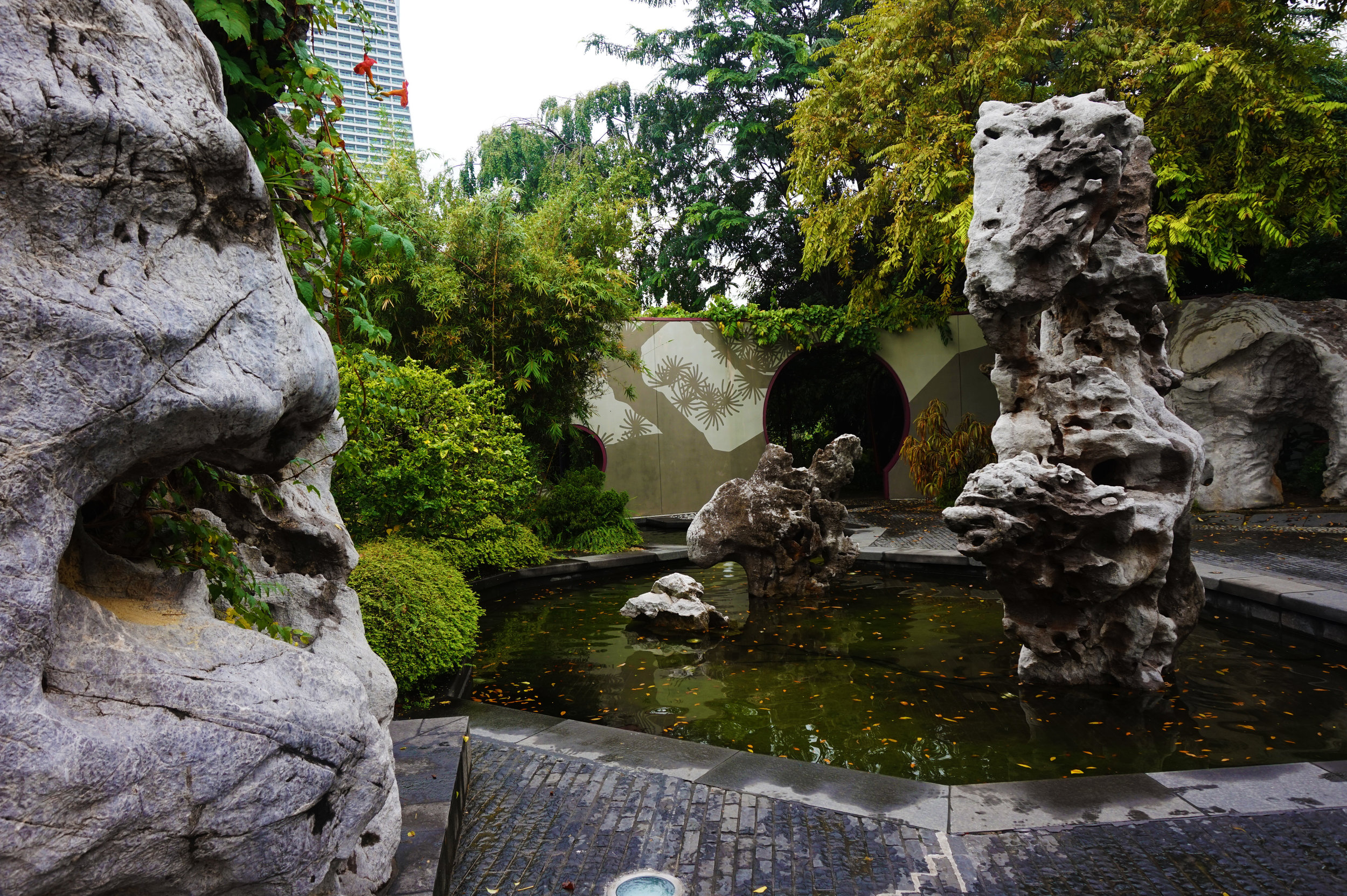 Chinese gardens are built to imitate natural landscapes