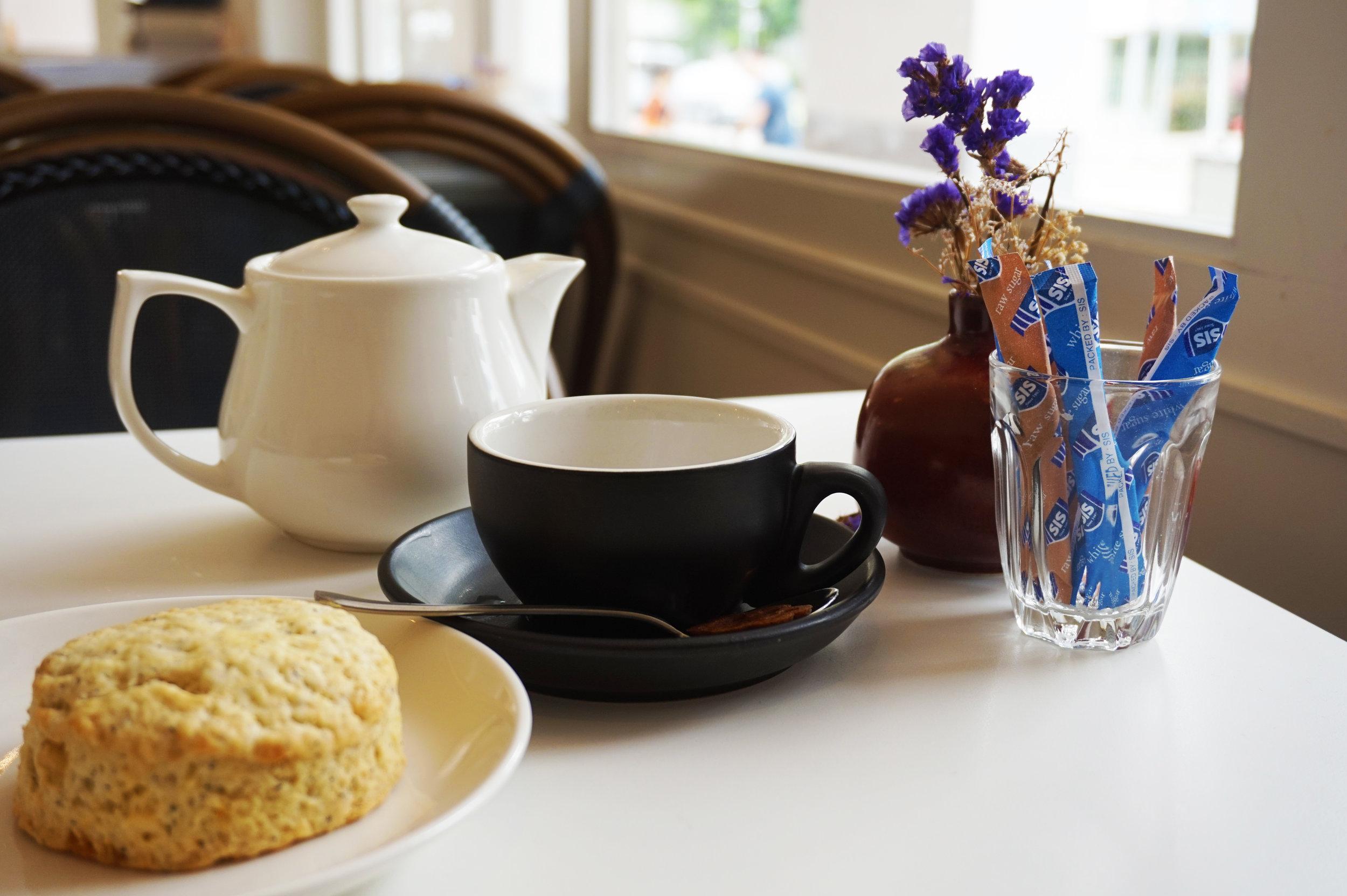 Earl Grey scone and jasmine tea from Whisk Café