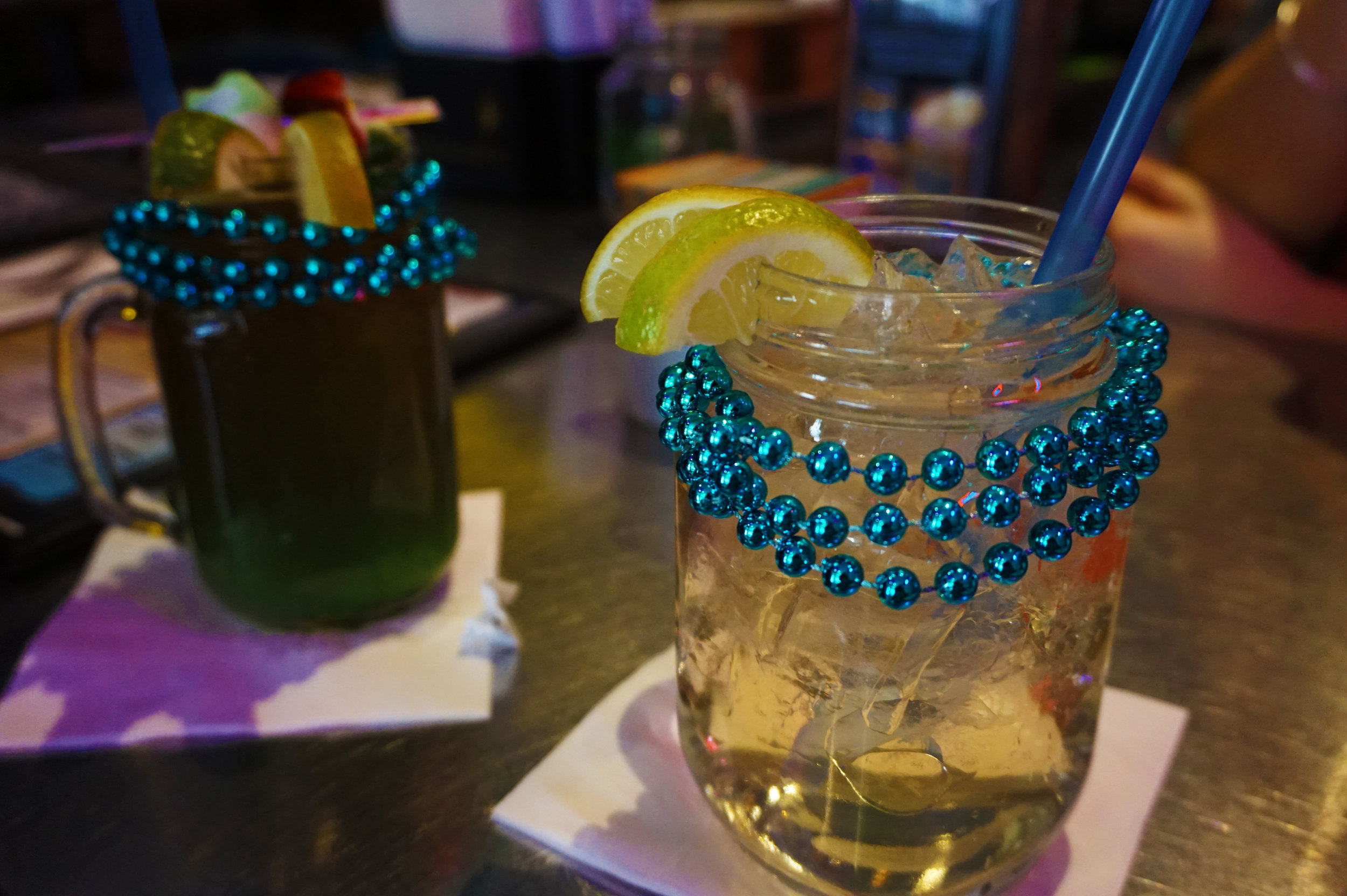 Voodoo juice (peep the gummy shark!) and a Texas mule