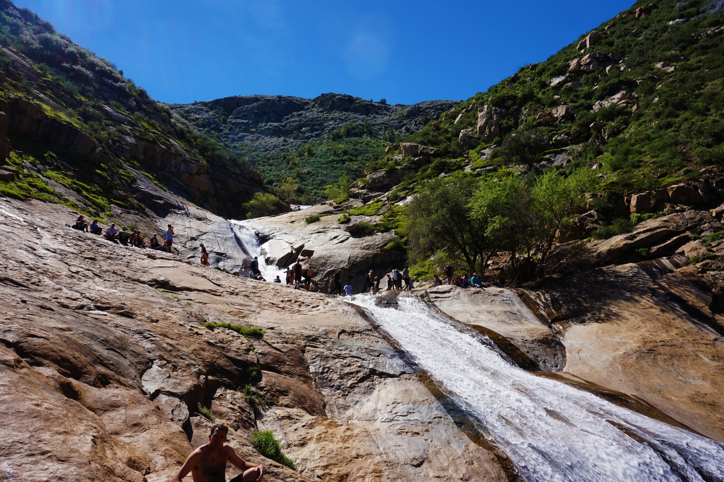 A beautiful San Diego waterfall ft. some random sunbather