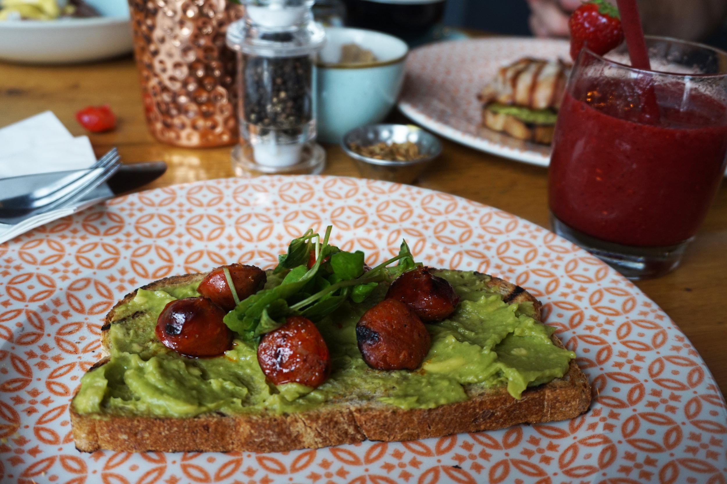Avocado toast + chorizo!