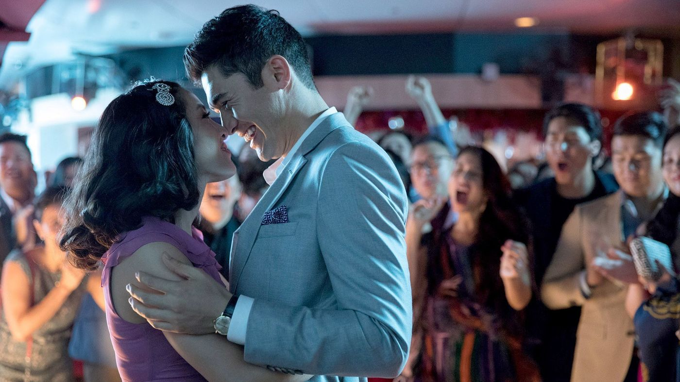 Constance Wu and Henry Golding in Crazy Rich Asians (via The L.A. Times)