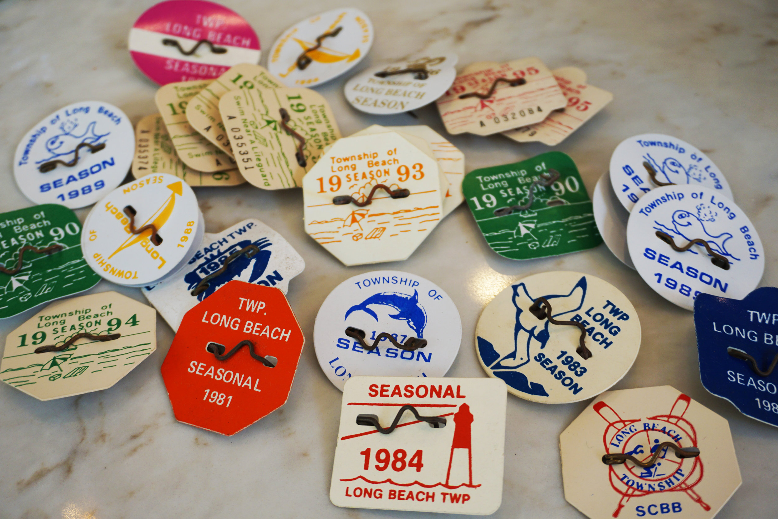 Seasonal entrance pins to the beach