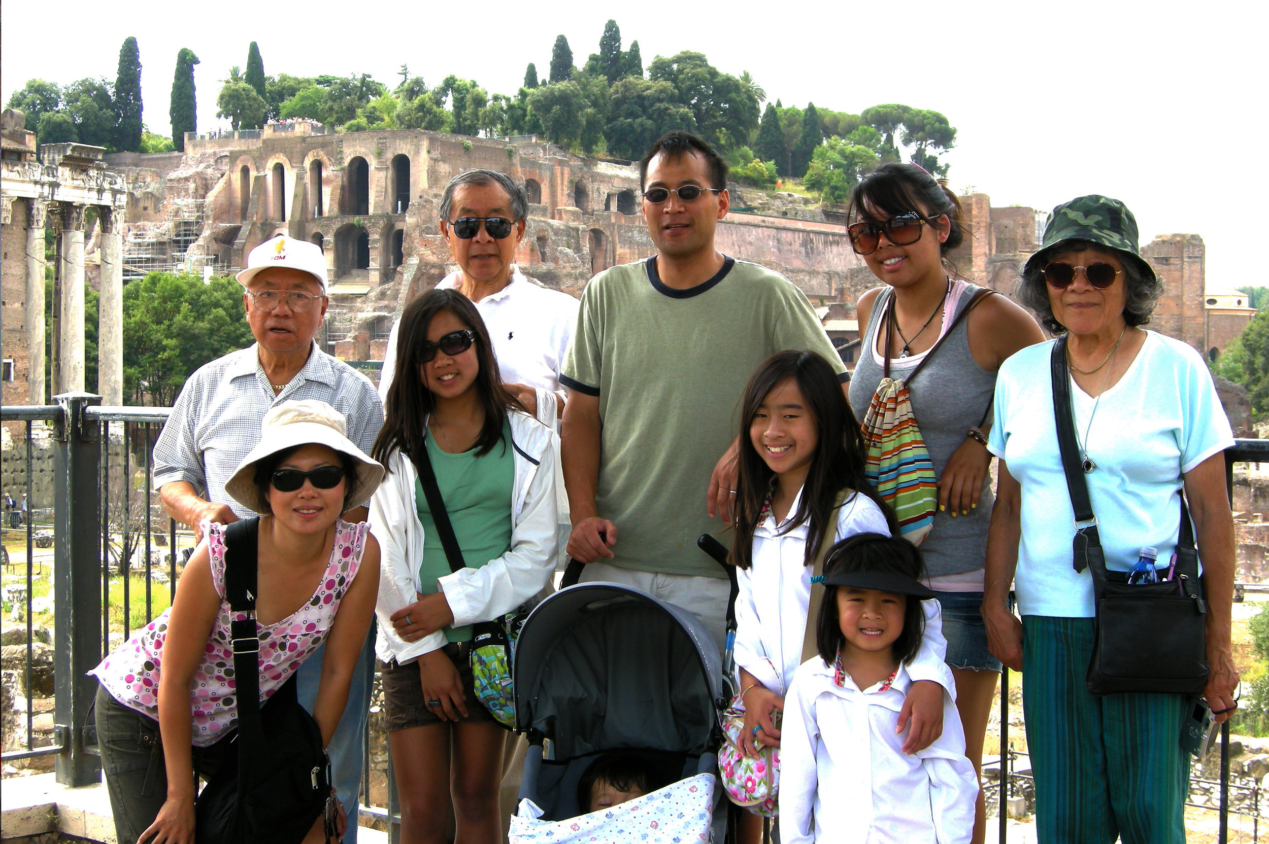 Pompeii, 2008, wearing the much-detested sun-protective shirts
