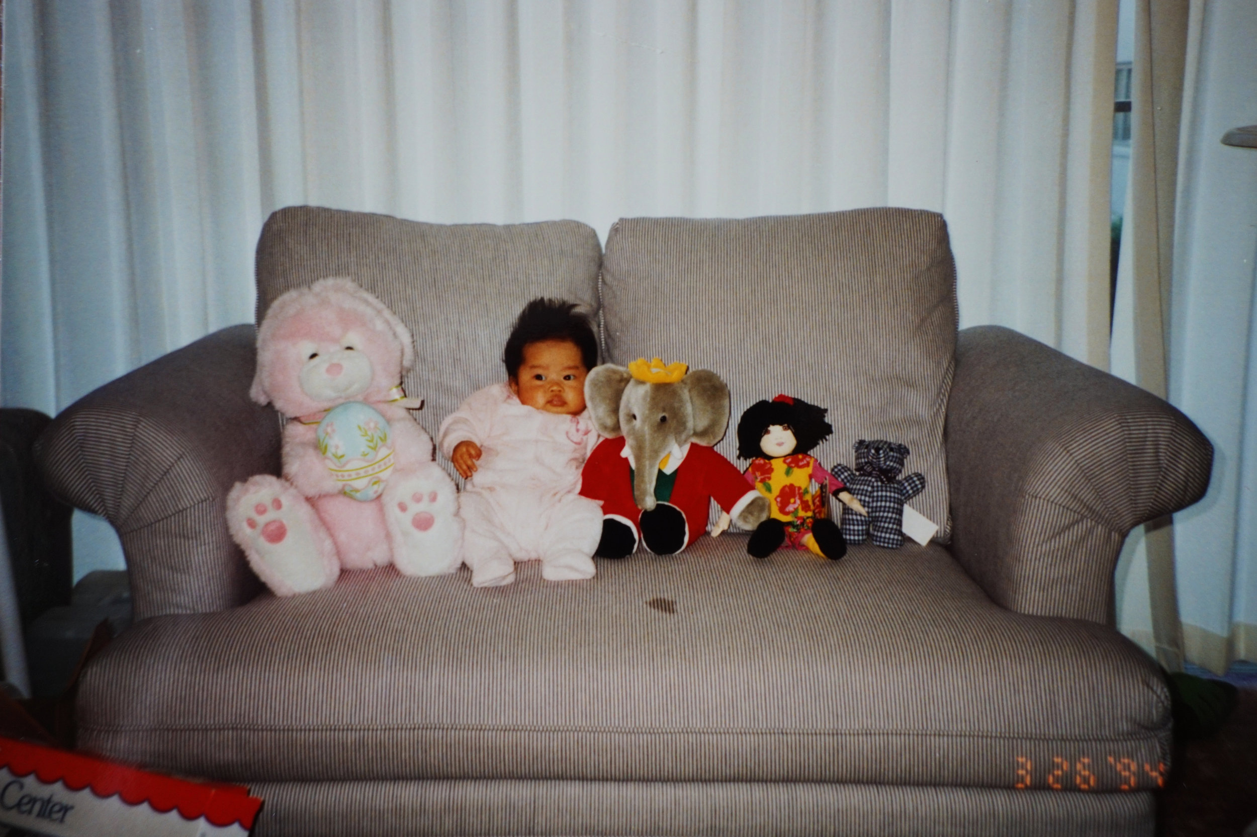 Me and my stuffed animals for scale, 1994