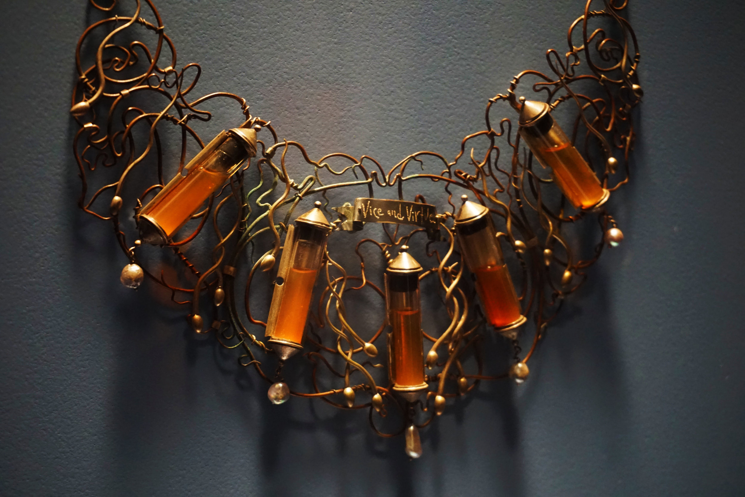 A necklace containing human sperm, a gift of the artist (no word on who the sperm belongs to)