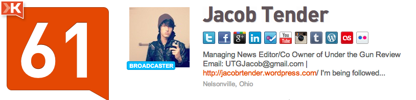 My Klout account showing my current score of 61.