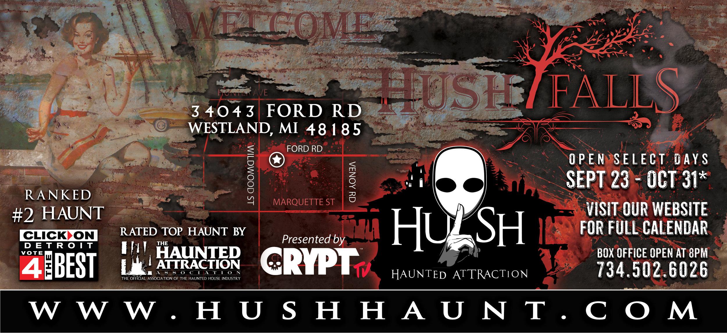 HUSH Haunted Attraction Billboard 1