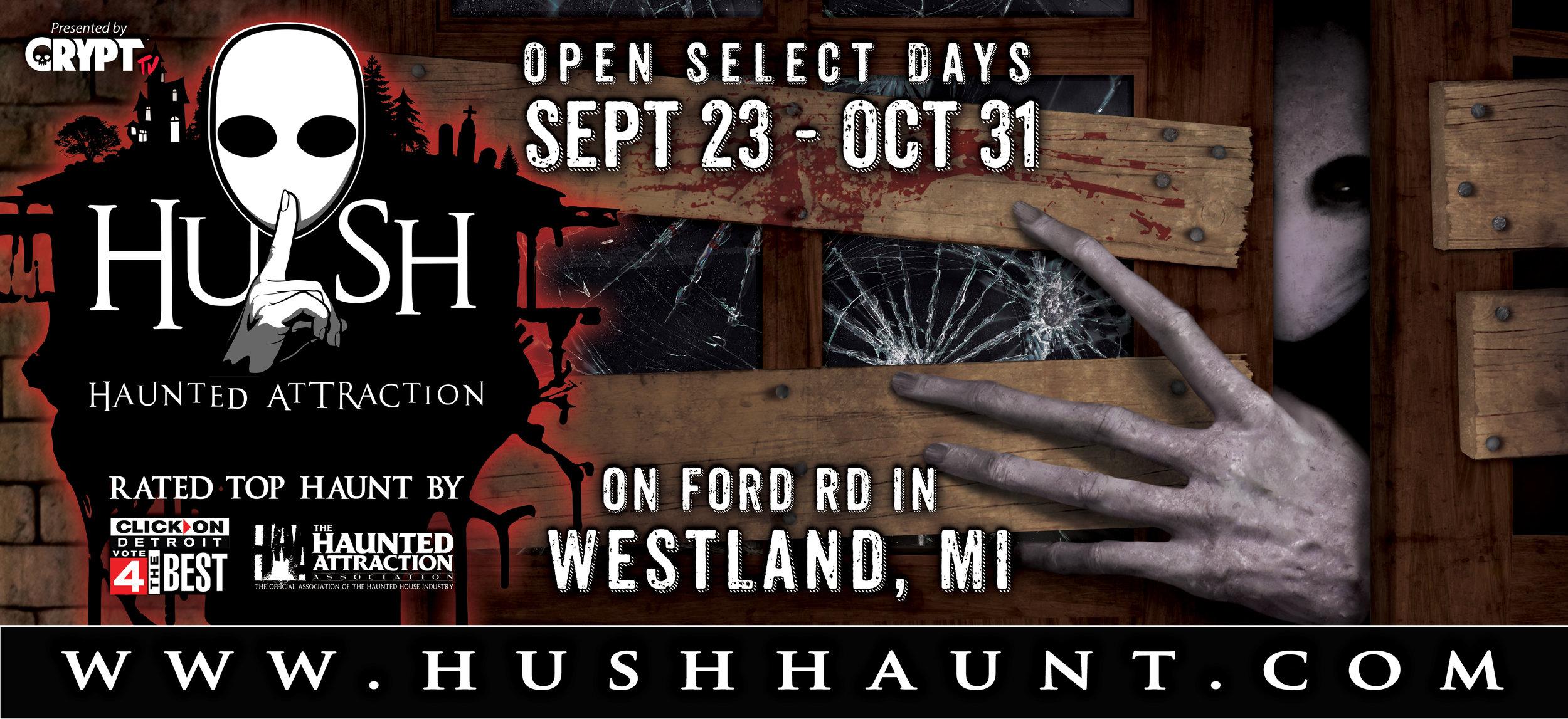 HUSH Haunted Attraction Billboard 2