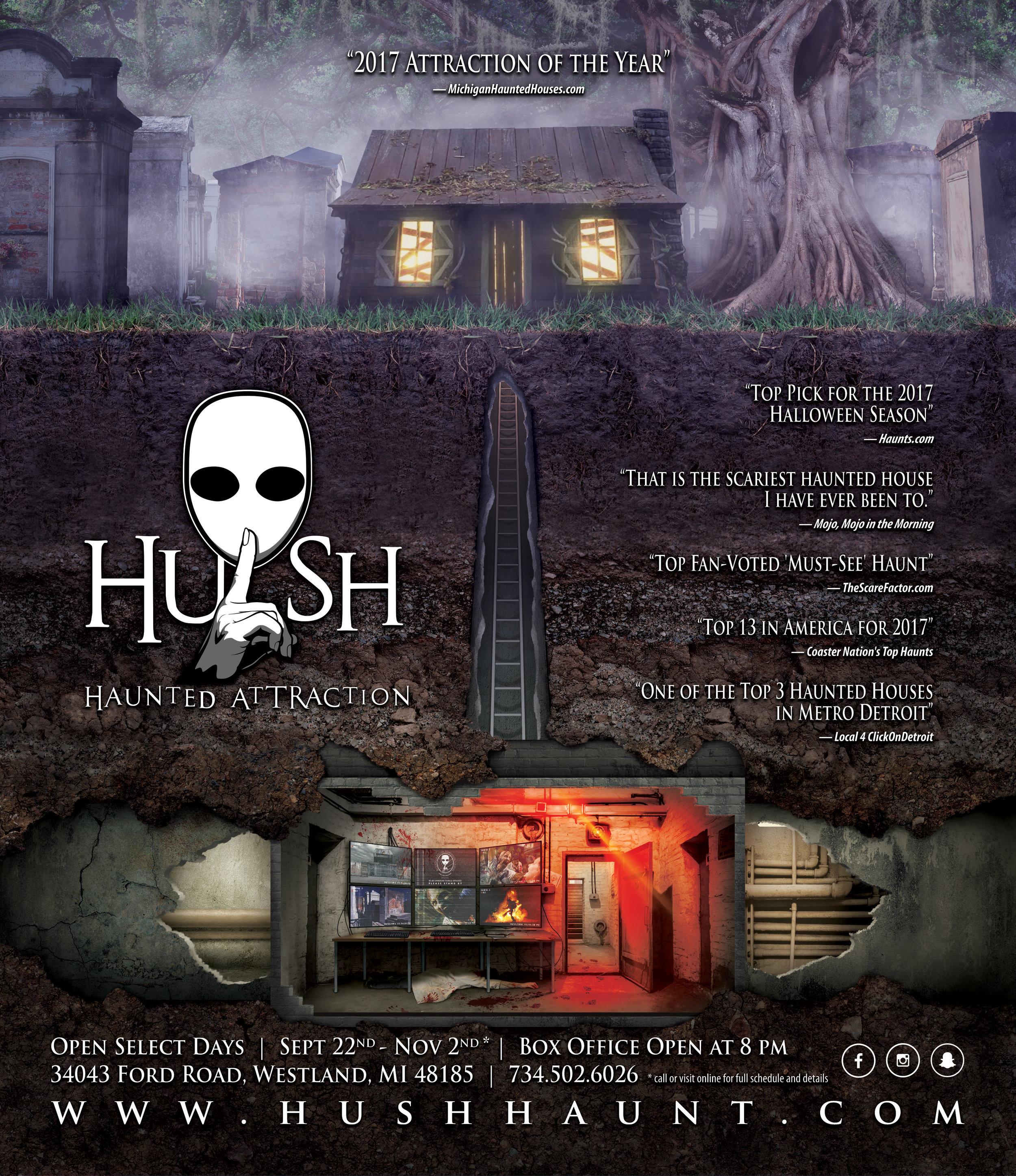 HUSH Haunted Attraction Print Ad 2018