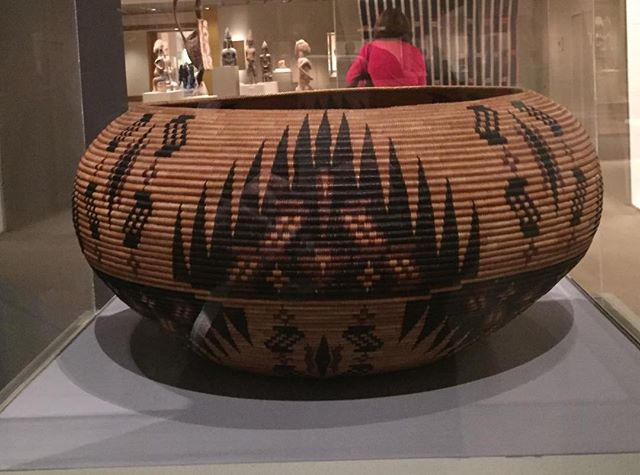Sedge, redbud, bracken fern root, and willow were used in this extraordinary basket made by Carrie Bethel ca1929