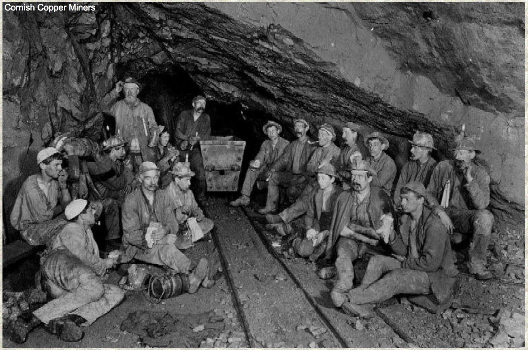 Cornish copper miners. Credit miningartifacts.org
