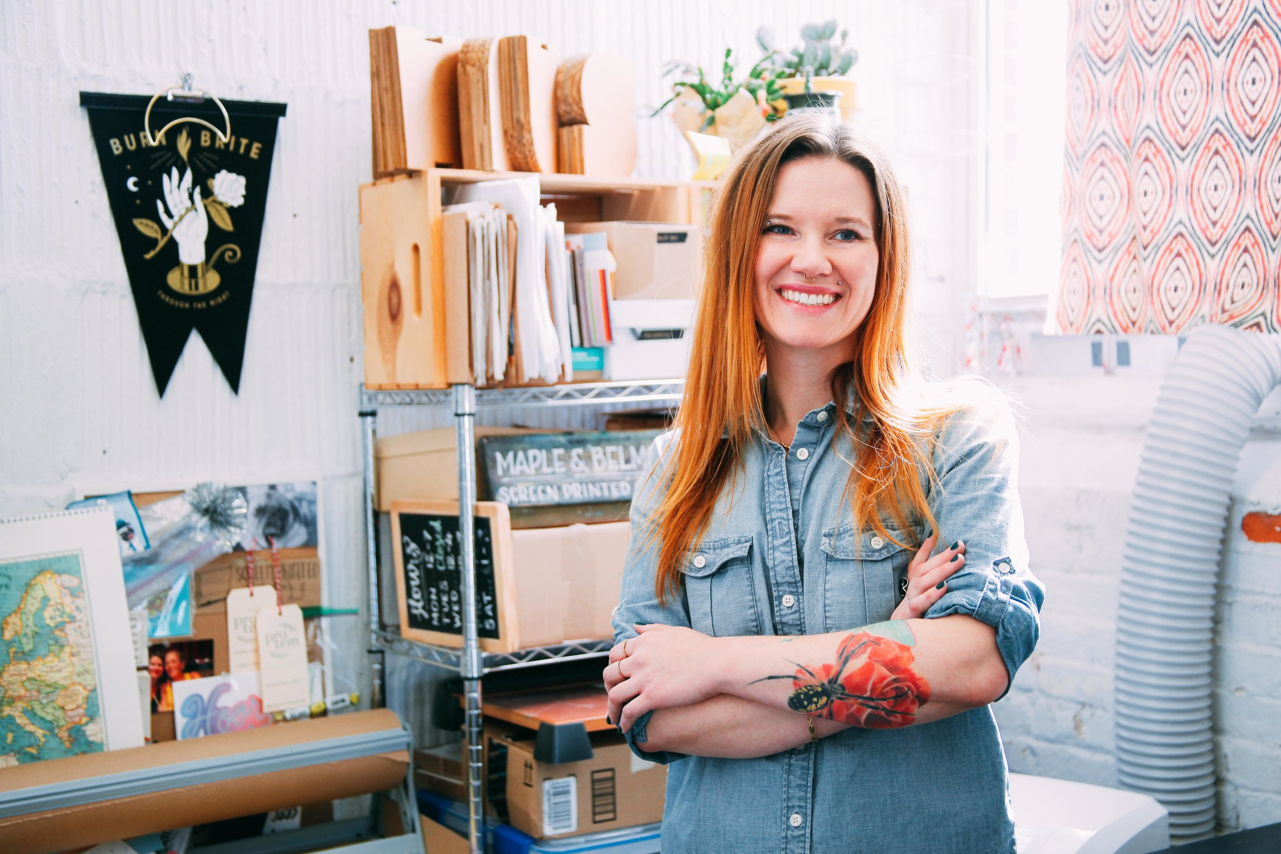 Kimberly Munn is the creative force behind Maple and Belmont, a design studio based in Norfolk, Virginia that specializes in hand lettering. Maple and Belmont was born out of a dream to create stationery and other paper products with our own two hands. So in the fall of 2012, we rekindled our love of screen printing and got to work. Starting out primarily designing and screen printing stationery but quickly found our talents branching out into custom work that includes wedding invitations, chalkboards, logos, calligraphy services and anything we can get our hands on. Our work features Kimberly's charmingly, witty designs that explore our visual voice through hand-drawn typography and illustration. Our love of letterforms drives us to bring our patrons a level of quality and attention their project deserves. Kimberly also shares her love of hand lettering through several workshops that she teaches locally.