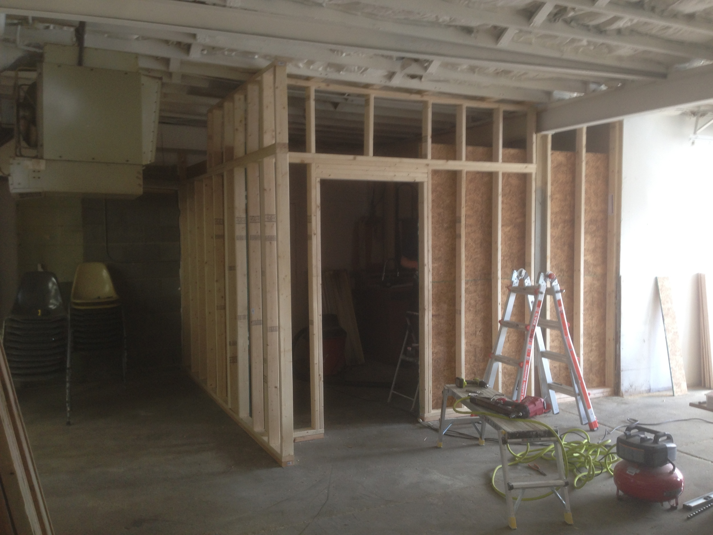 framing out the new entry door.