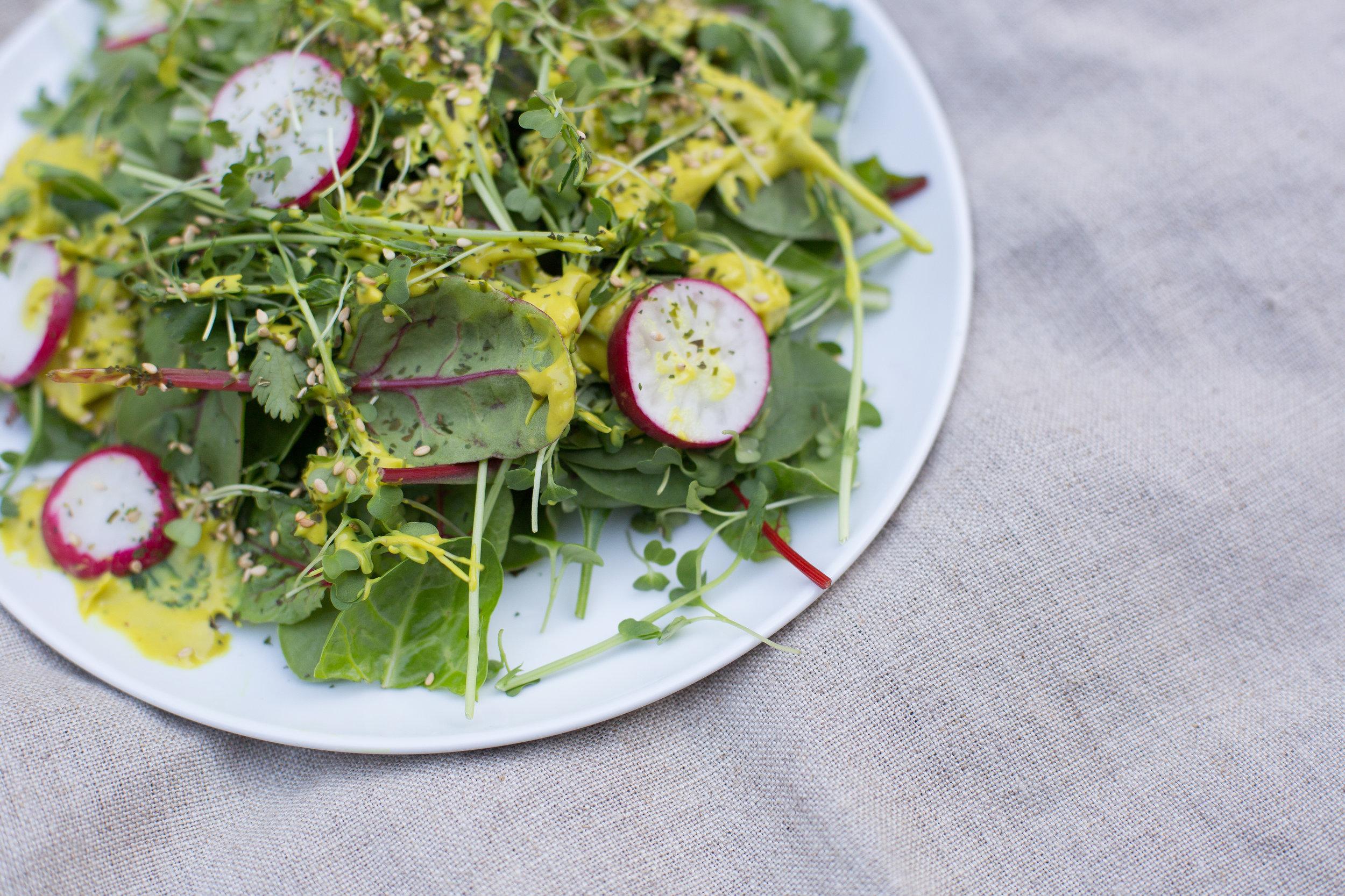 Kristin Dahl Nutrition Blog Mixed Baby Kale Salad With Creamy Turmeric Dressing