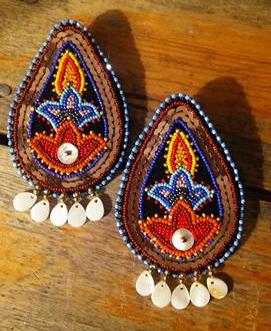 Copper Floral Earrings