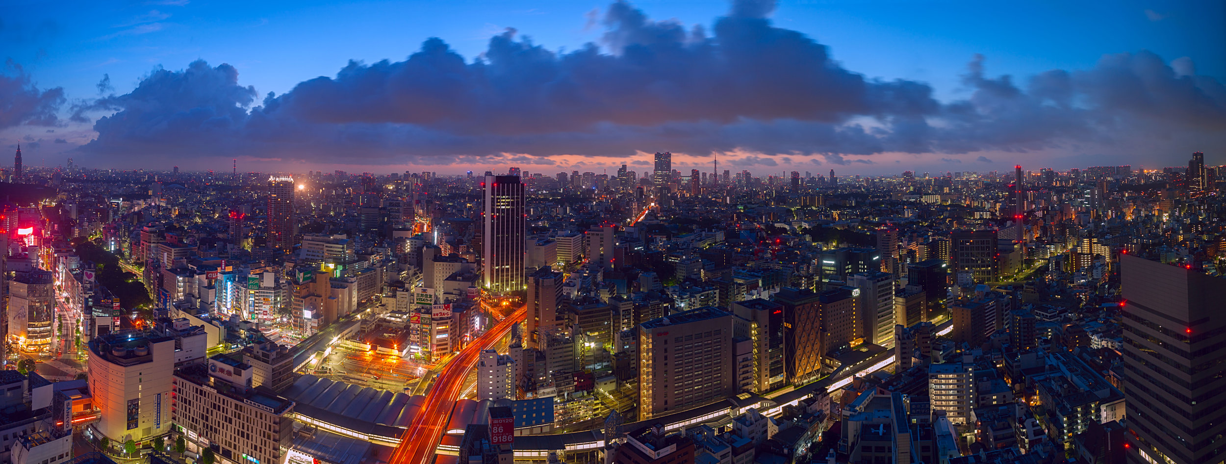 The banner image at the top of this page: dusk descends on the Shibuya area of Tokyo.   More of my panoramic images here.