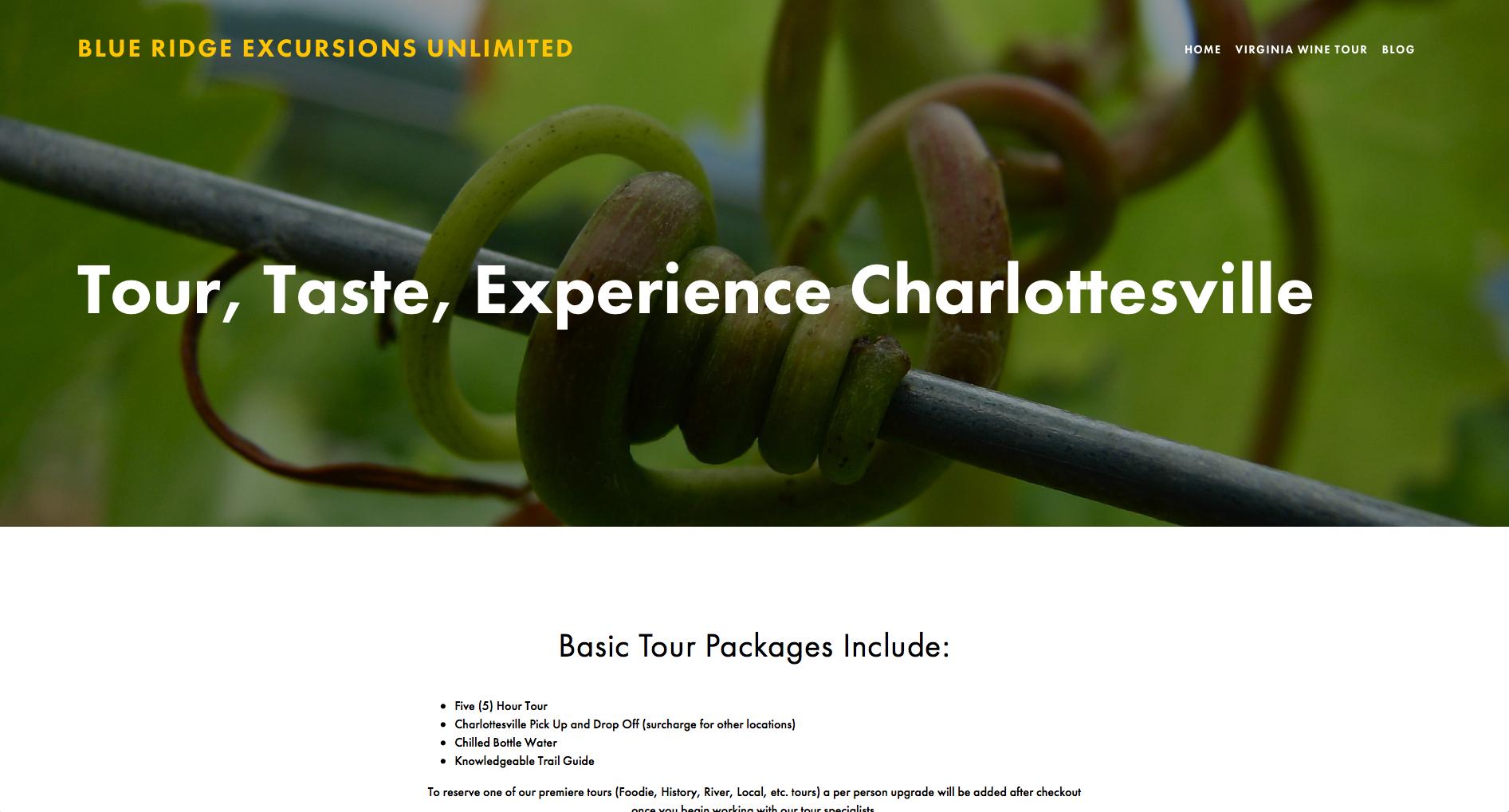 Website Design - Blue Ridge Excursions Unlimited