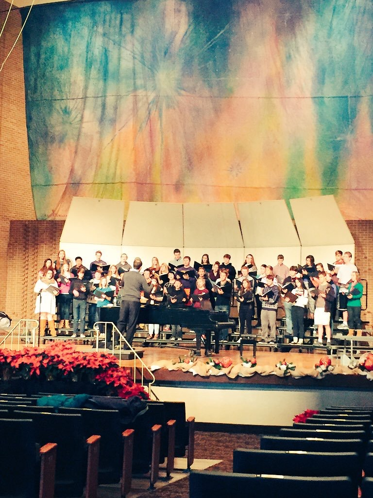 Chamber Choir in rehearsal at Eppley Auditorium