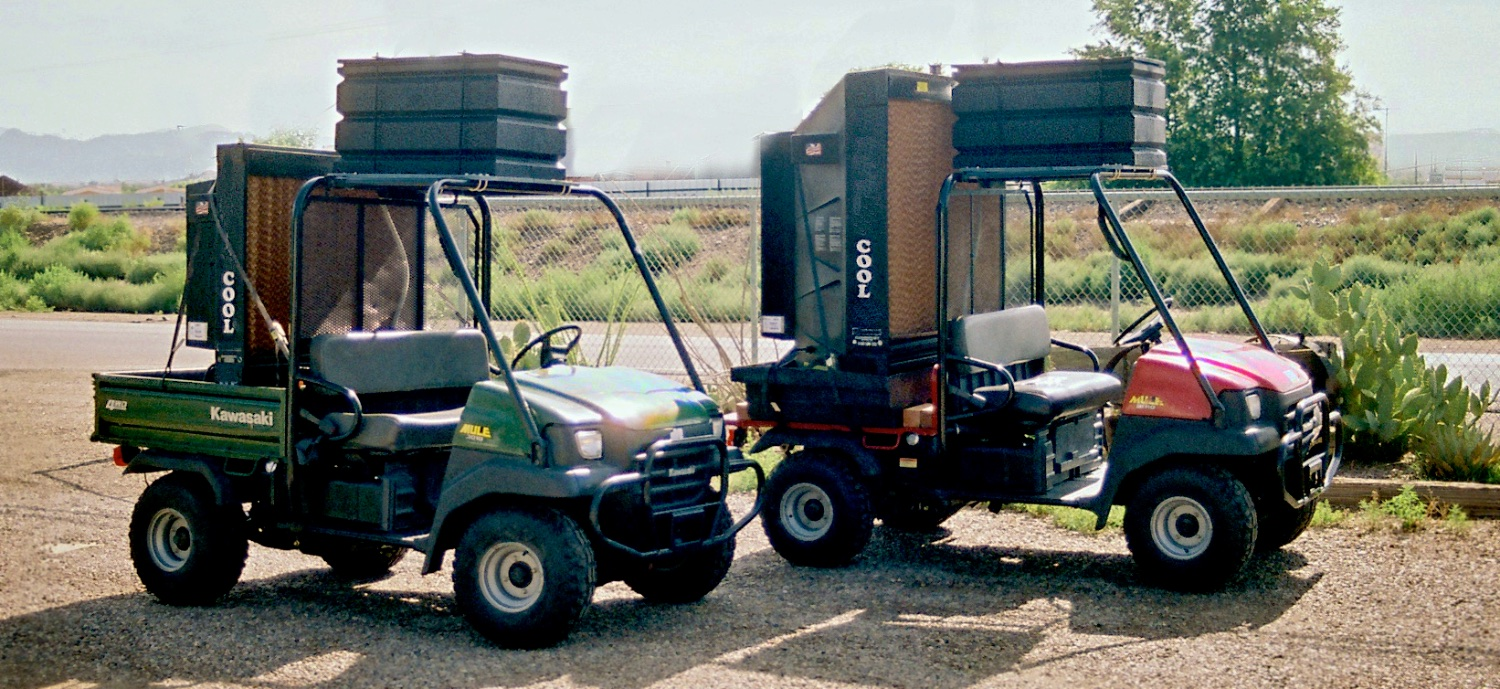 "Mobile Cooling, air conditioners. Mobile outdoor/indoor pocket coolers on all terrain mules, ""Cool Mules"". ""Comfort Station"" seats 12. Trailer Mobile Air Conditioners pipe cool air indoors. Call Wayne Elliott for details (505) 328-0909. ElliottLocationEquipment.com"