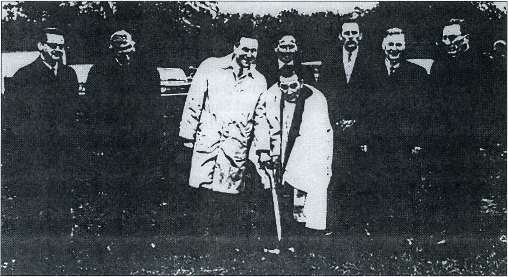 Groundbreaking 1966 Left to Right-Simon Kern, Louis Erbrecht, Norman Erbrecht, Louis Regine, Rev. H.K. Dietrich Jr., Clyde Oelschlager, Ray Colin, Louis Behling.