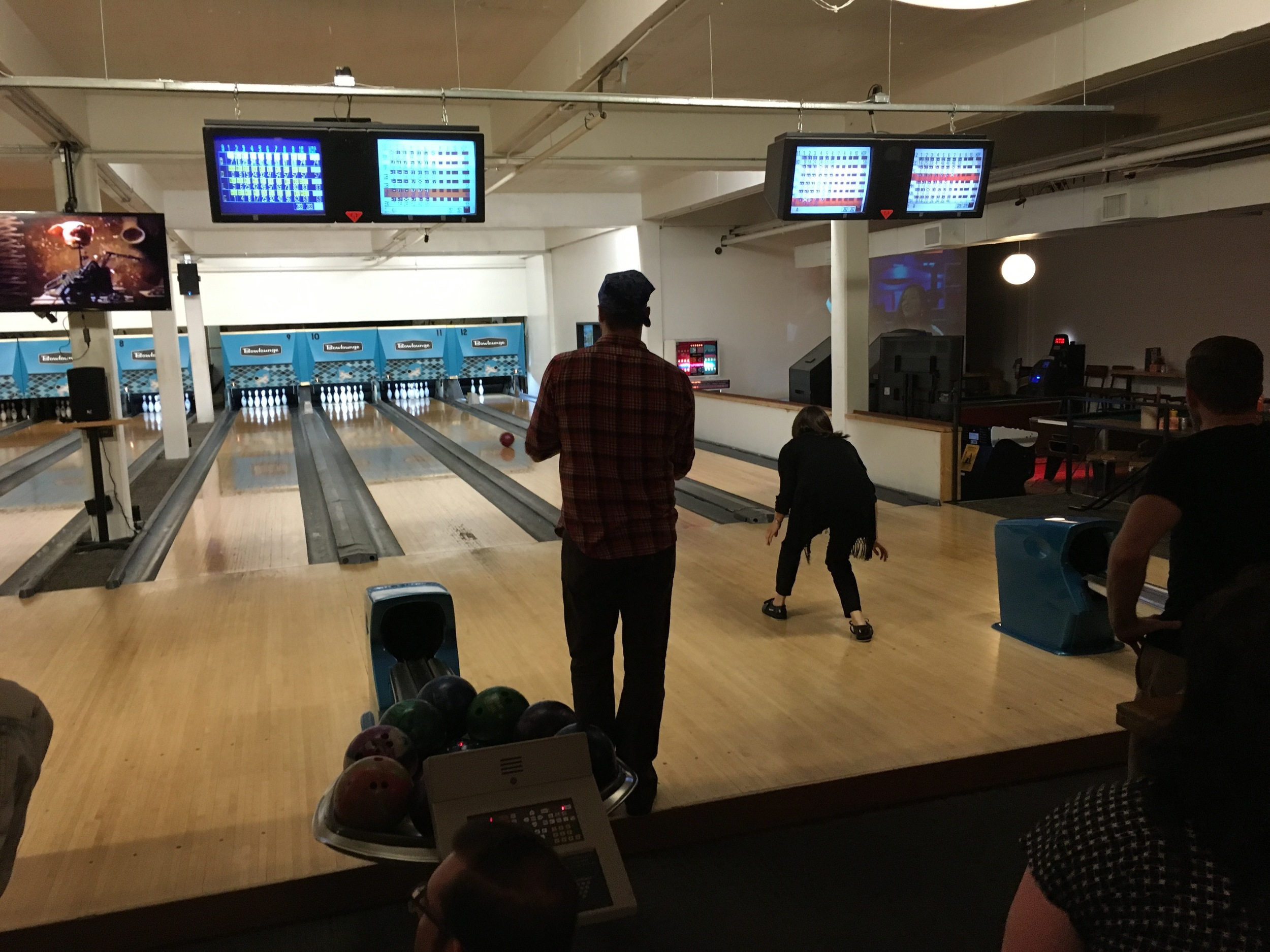 Cast bowling party