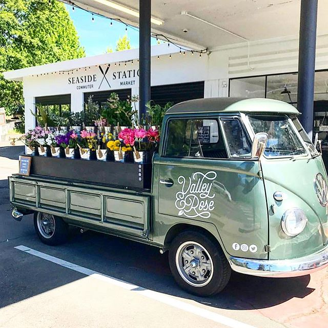Loved having @valleyandroseflowertruck at the shop today. Could their truck be any cuter?!?