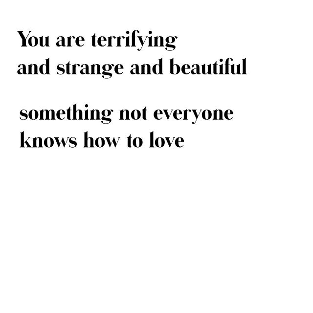"you are terrifying⁣ and strange and beautiful⁣ something not everyone knows how to love⁣ 👆👆⁣ The closing lines from ""For women who are difficult to love"" by Warsan Shire⁣ ✨🍋🍋🍋✨⁣ Beyoncé's visual album for Lemonade is one of my all-time favorite pieces of storytelling (thank you @sinbadthemighty, for insisting, INSISTING, I watch it—you knew my needs before I did).⁣ ⁣  The poetry interspersed throughout Lemonade was written by Warsan Shire, and some of the intro was adapted from ""For women who are difficult to love."" Reading the whole piece will snatch your breath, break your heart, and curl your toes with the pleasure and terror of being seen. Watching Lemonade is horrifying, not because the characters are dangerous and dark, but because I recognize that danger, that darkness, and find it comforting. The savagery is shocking not from being extreme, but from being so fiercely, achingly, reasonable. 👇👇👇 What's a piece of storytelling that has stuck with you for years, that changed the way you saw something, yourself, or the world? #iwanttoknow"