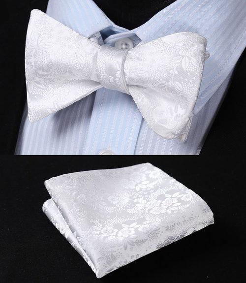 ab099c961461 Original Floral Series Bow Tie Set. BF3001W-White-Floral-100-Silk -Jacquard-Woven-Men-