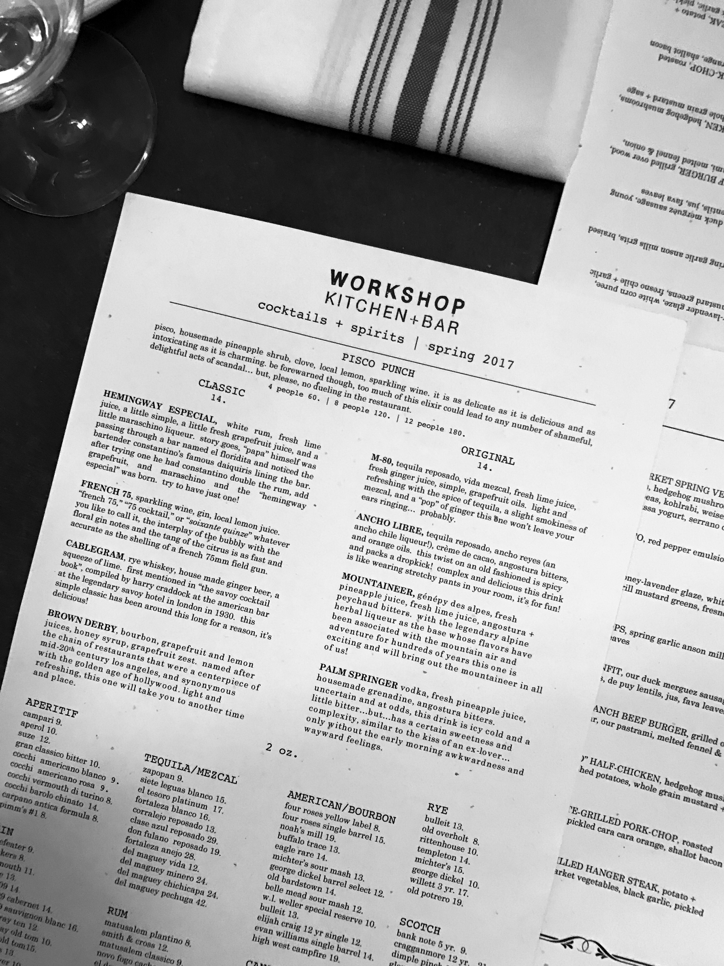 Workshop Kitchen + Bar Menu