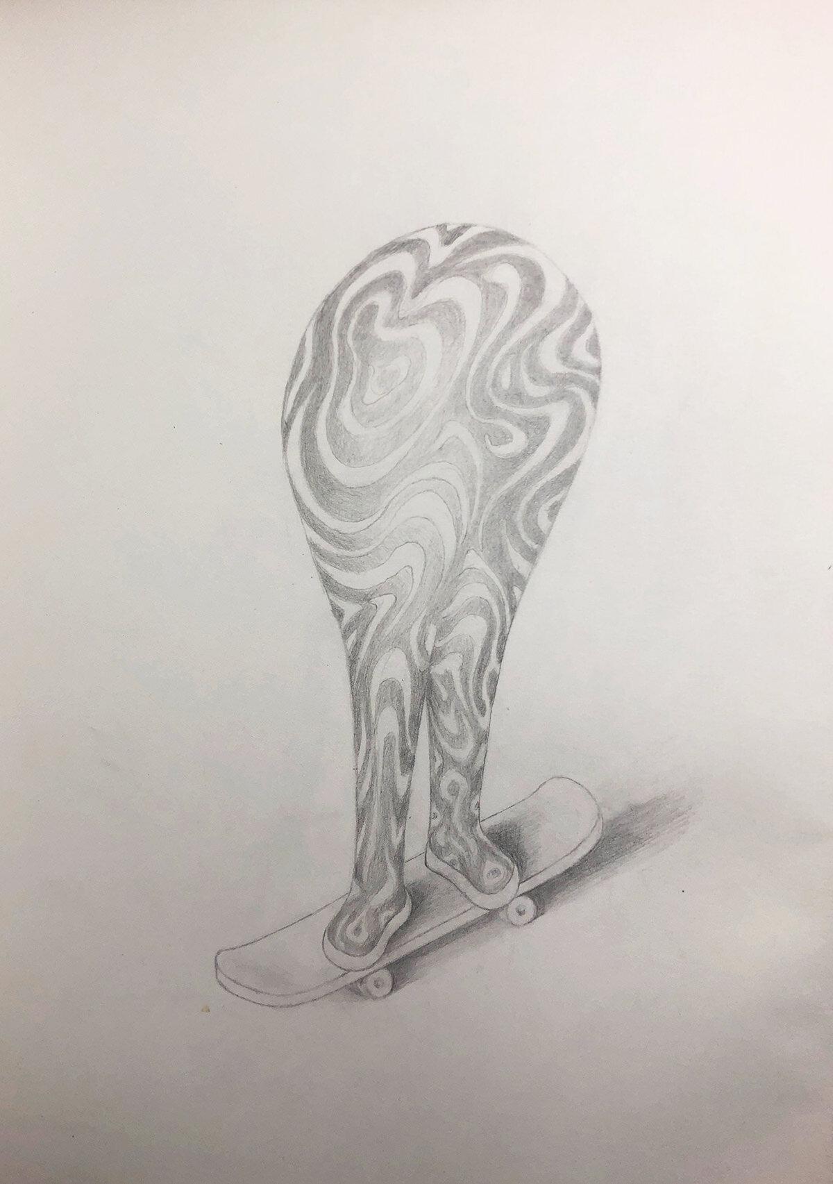 Skateboard Blob Character