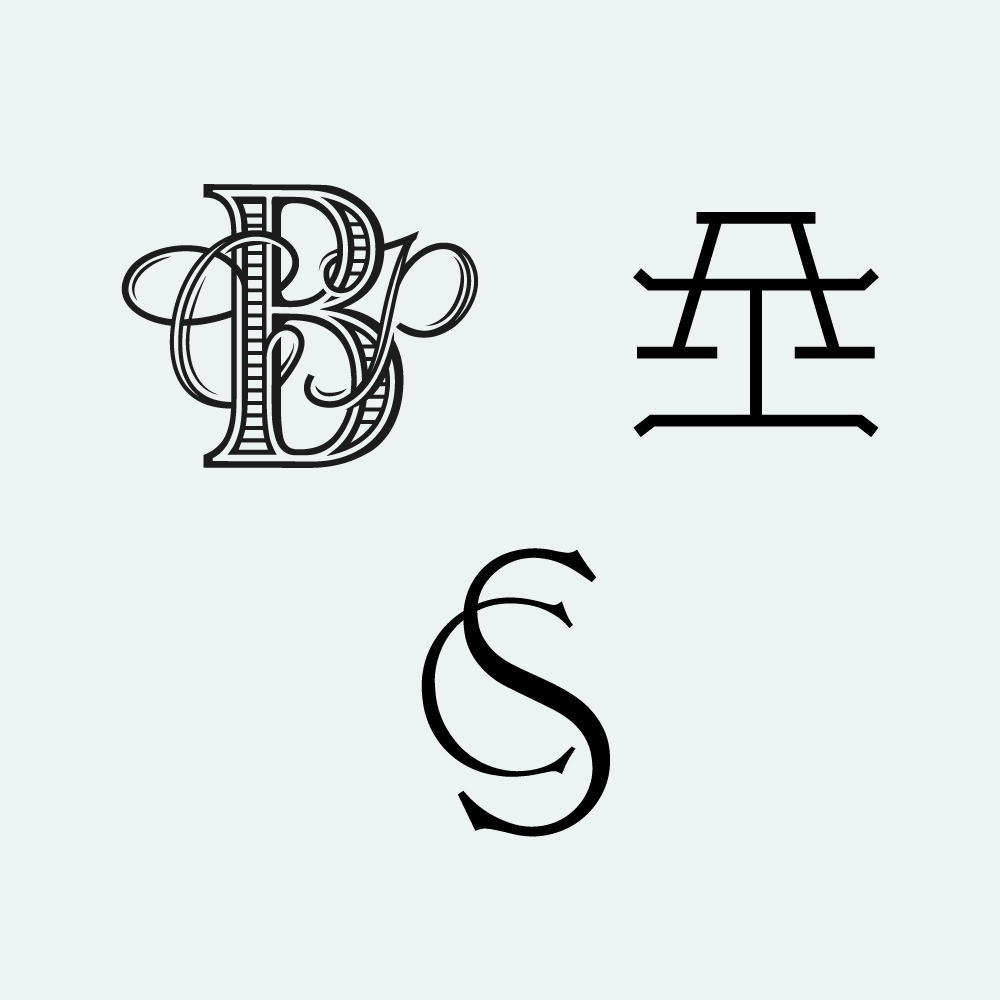 Series of monograms for wedding collateral.