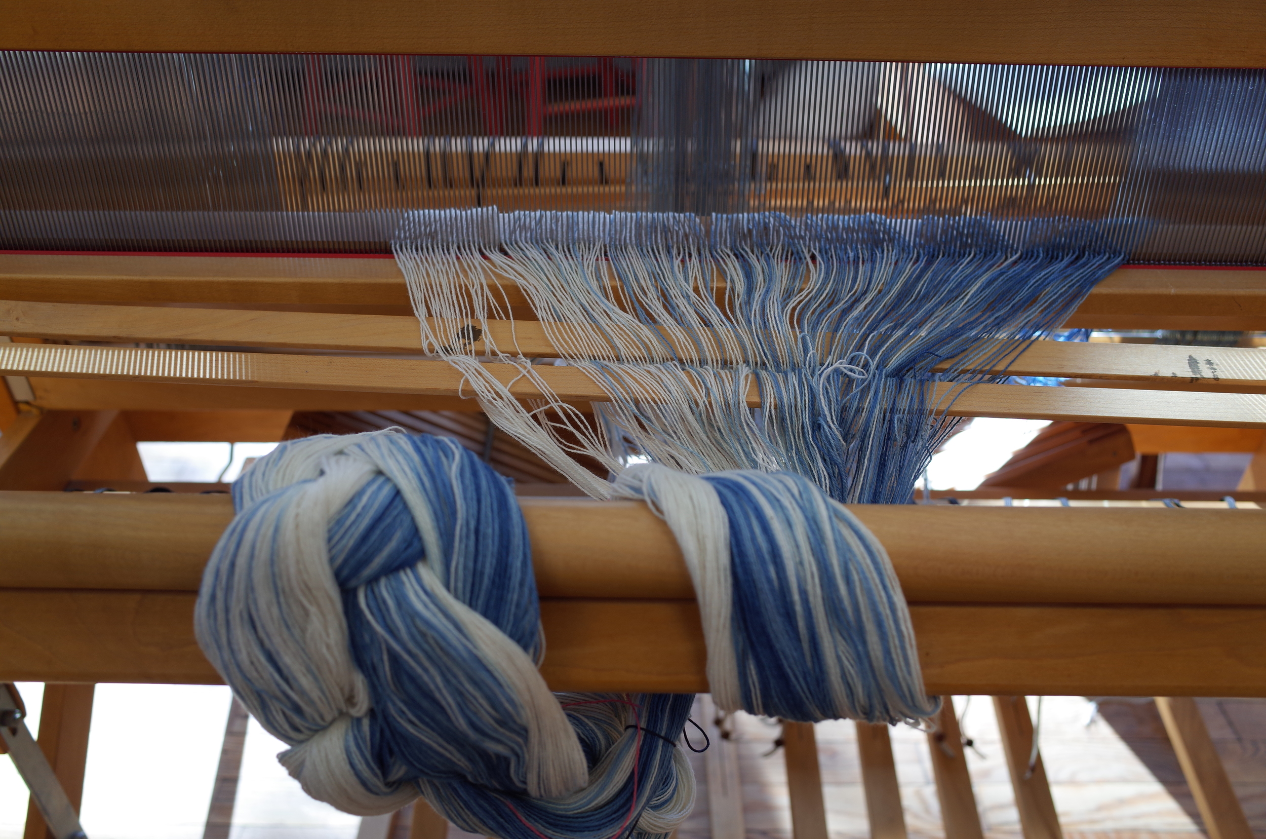 Starting to dress the loom.