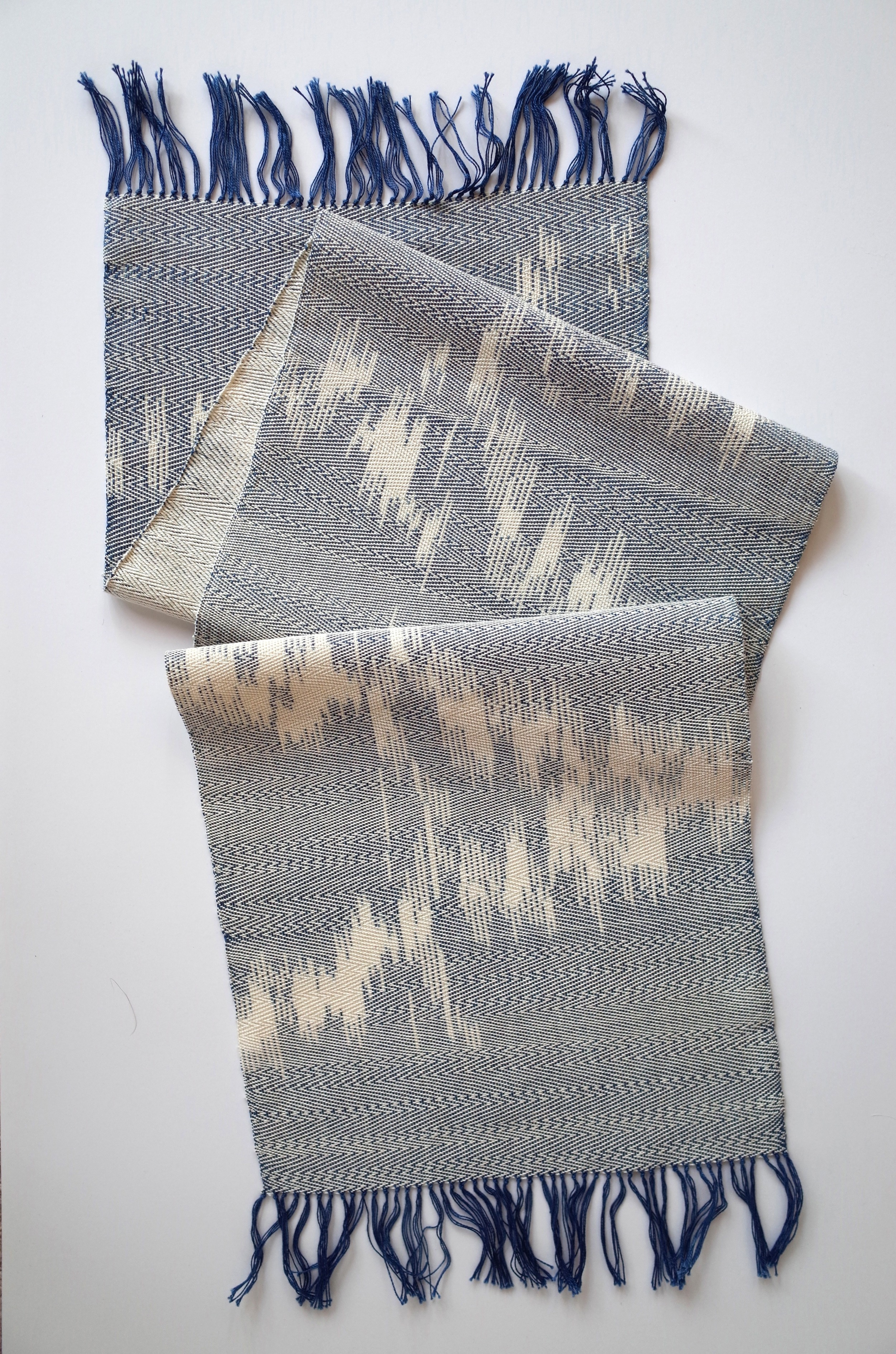 Finished piece: Back and Forth Fade, Ikat, Cotton dyed with Indigo, 2014.
