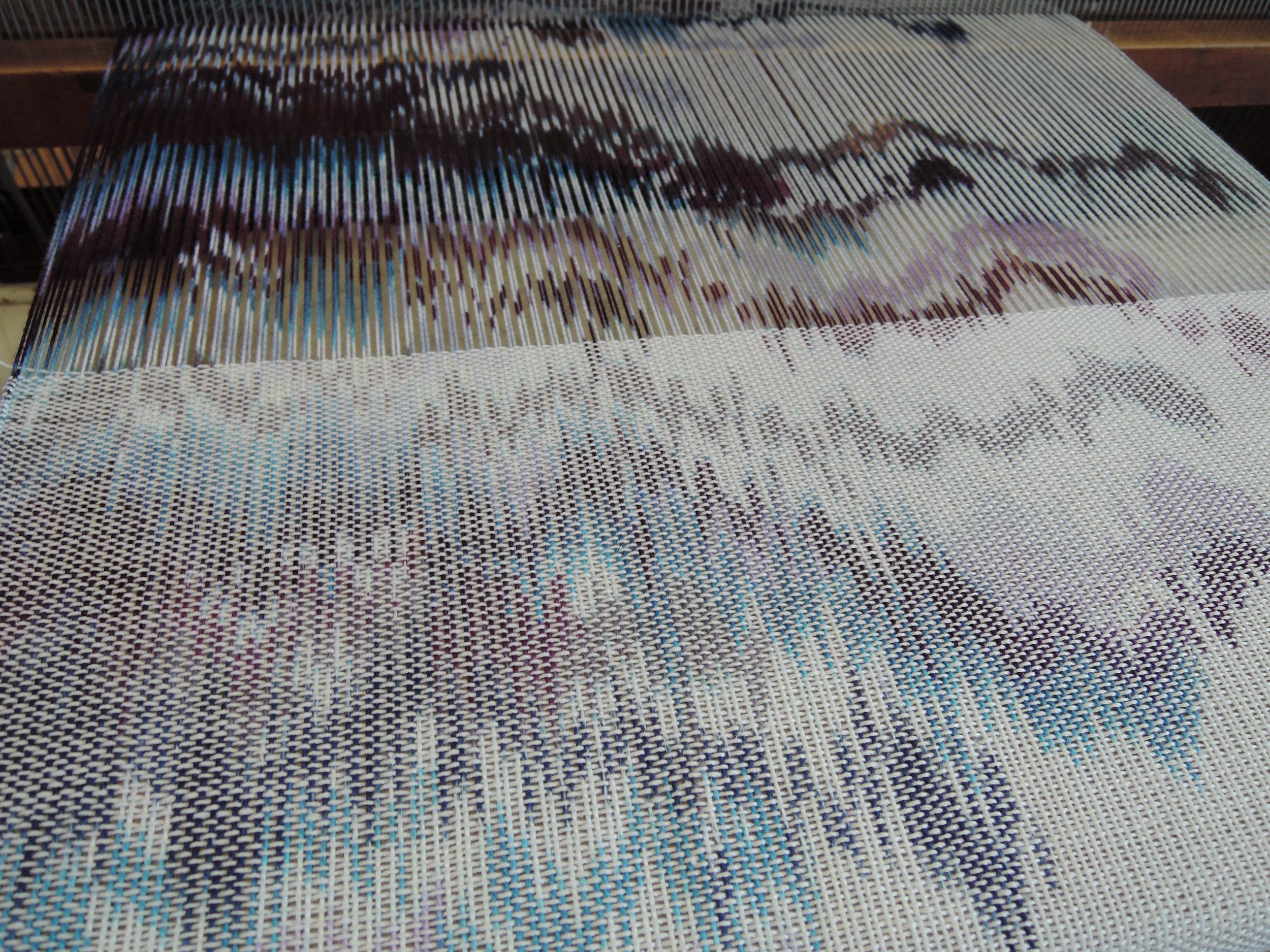 Halfway woven.