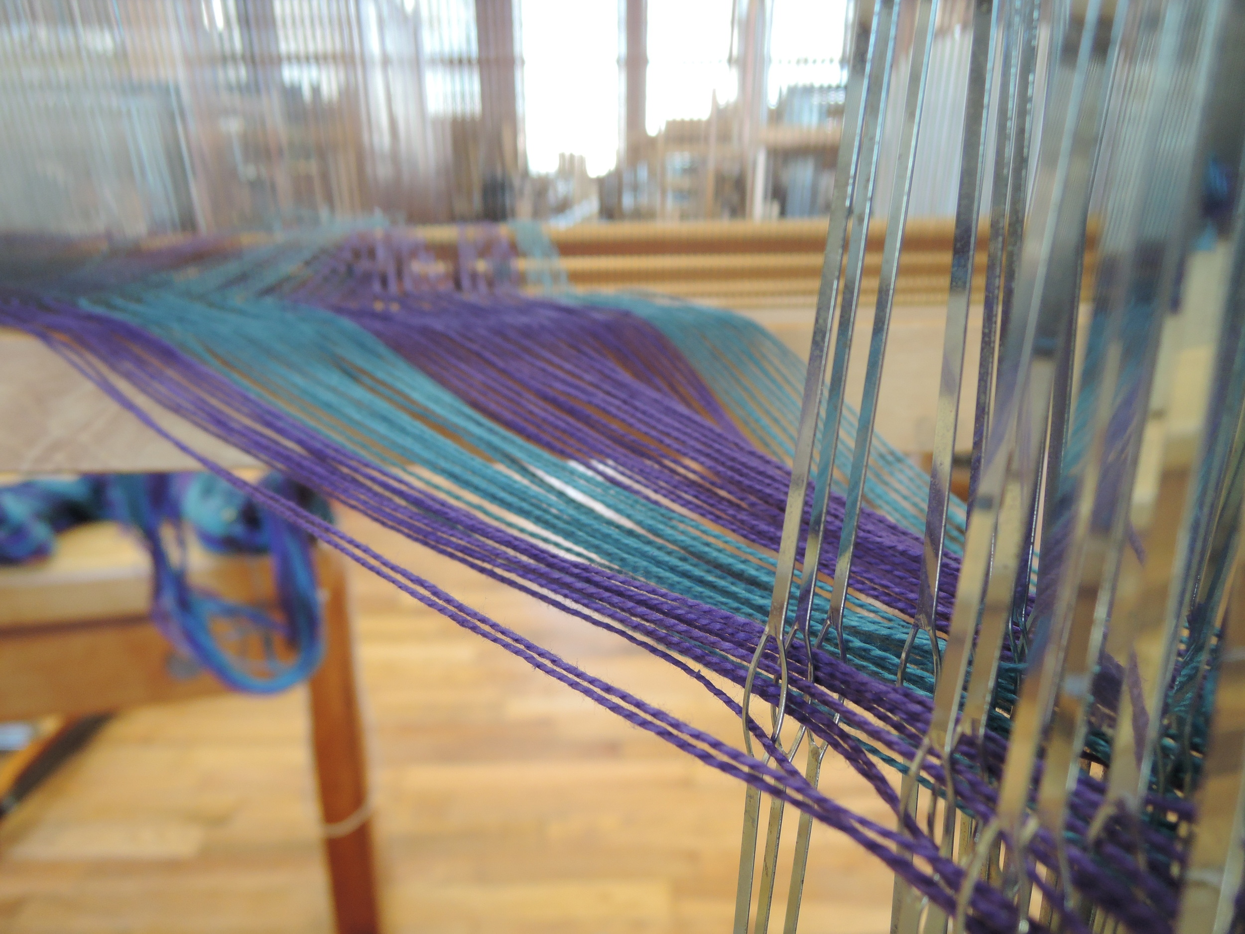 Heddles threaded.