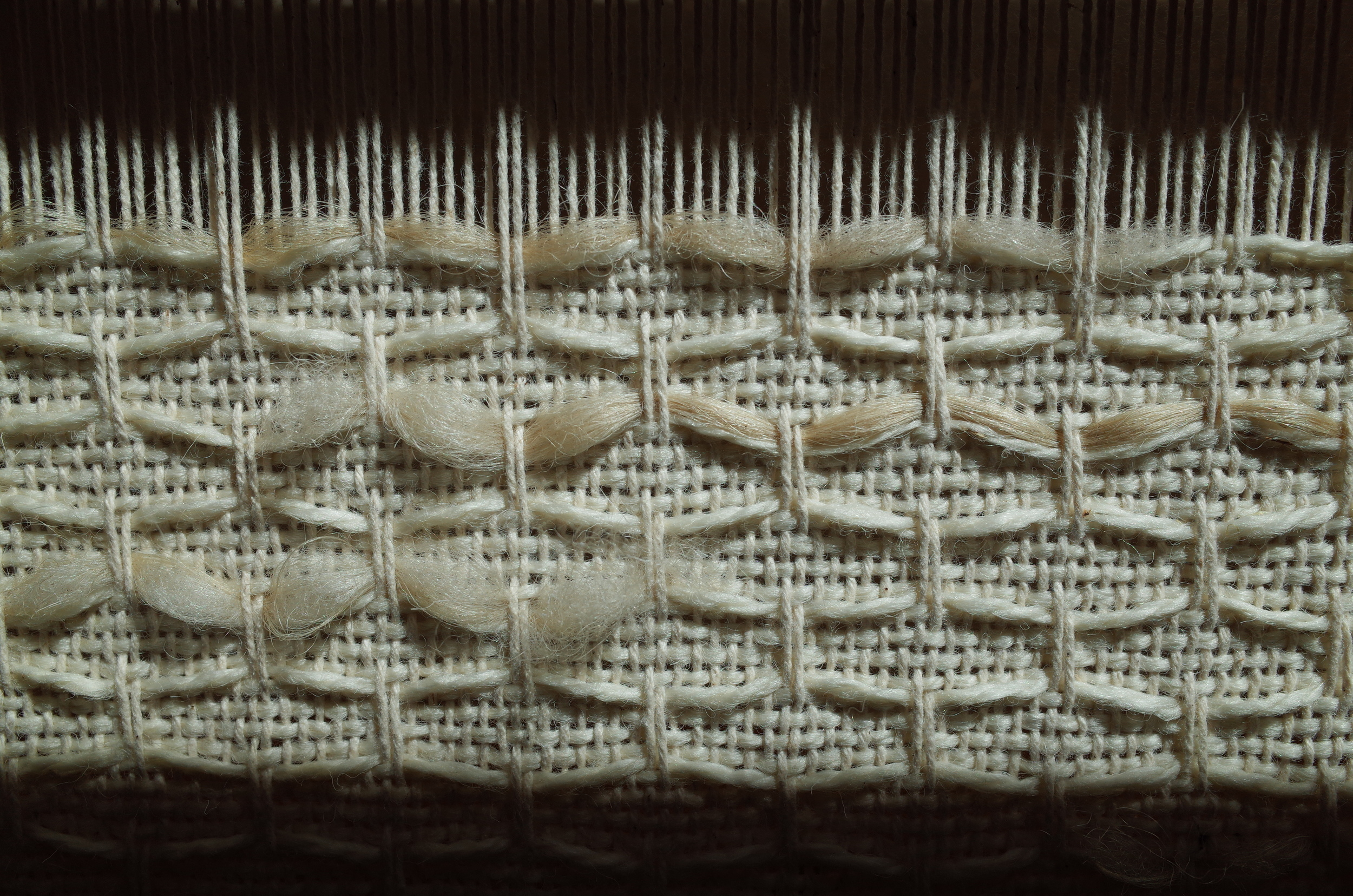 The light emphasizes the the details of the raw fibers.