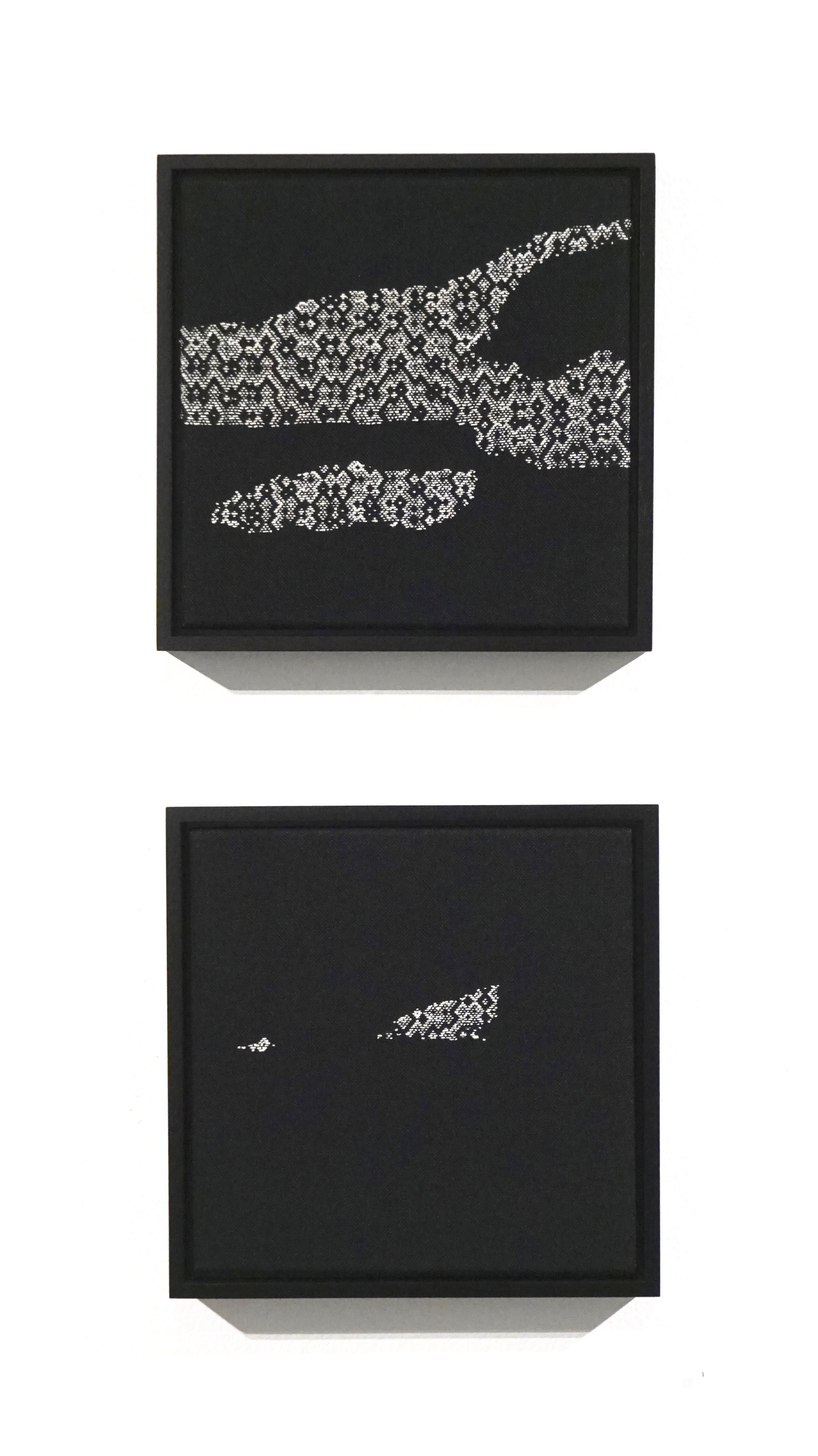 """Glacier Over Eight Years   2019  2 panel set, 13"""" x 13"""" x 2"""" each  Handwoven alpaca, cottolin, and cotton"""