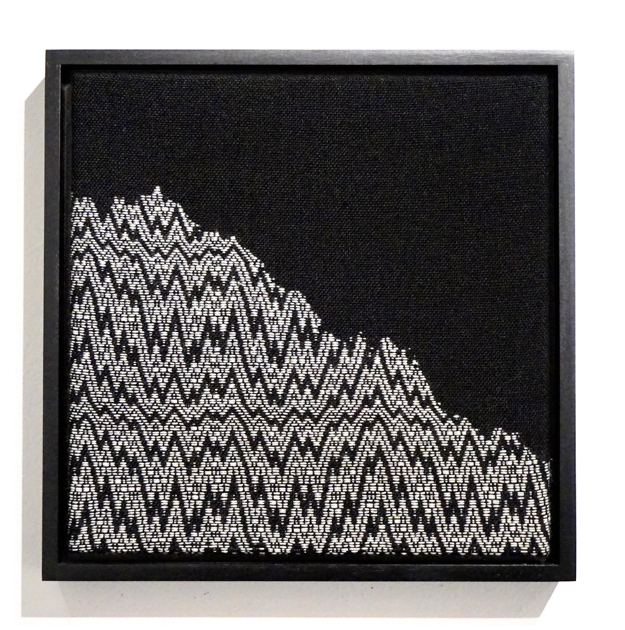 """Fifty Years as a Glacier   2019  13"""" x 13"""" x 2""""  Handwoven wool and cotton"""