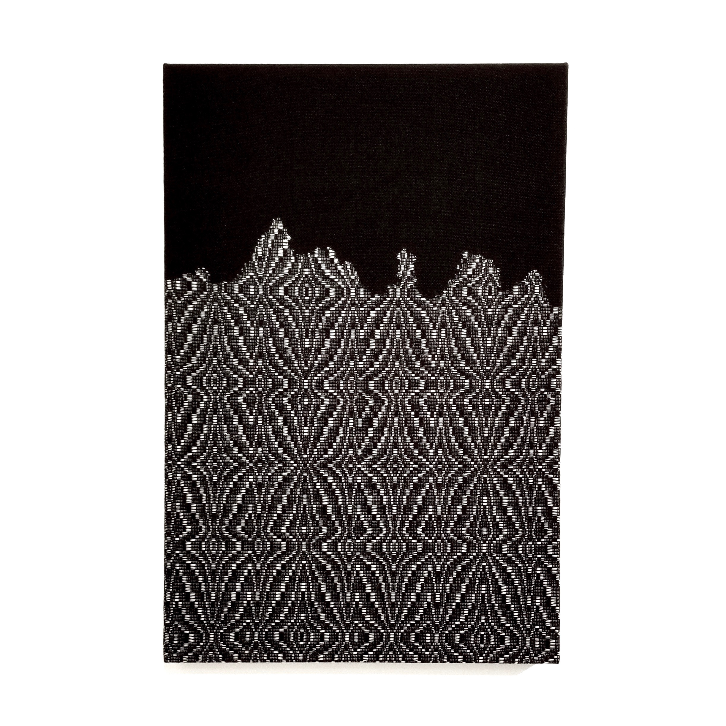 """Glacial Wall   2019  24"""" x 36""""  Handwoven wool and cotton"""