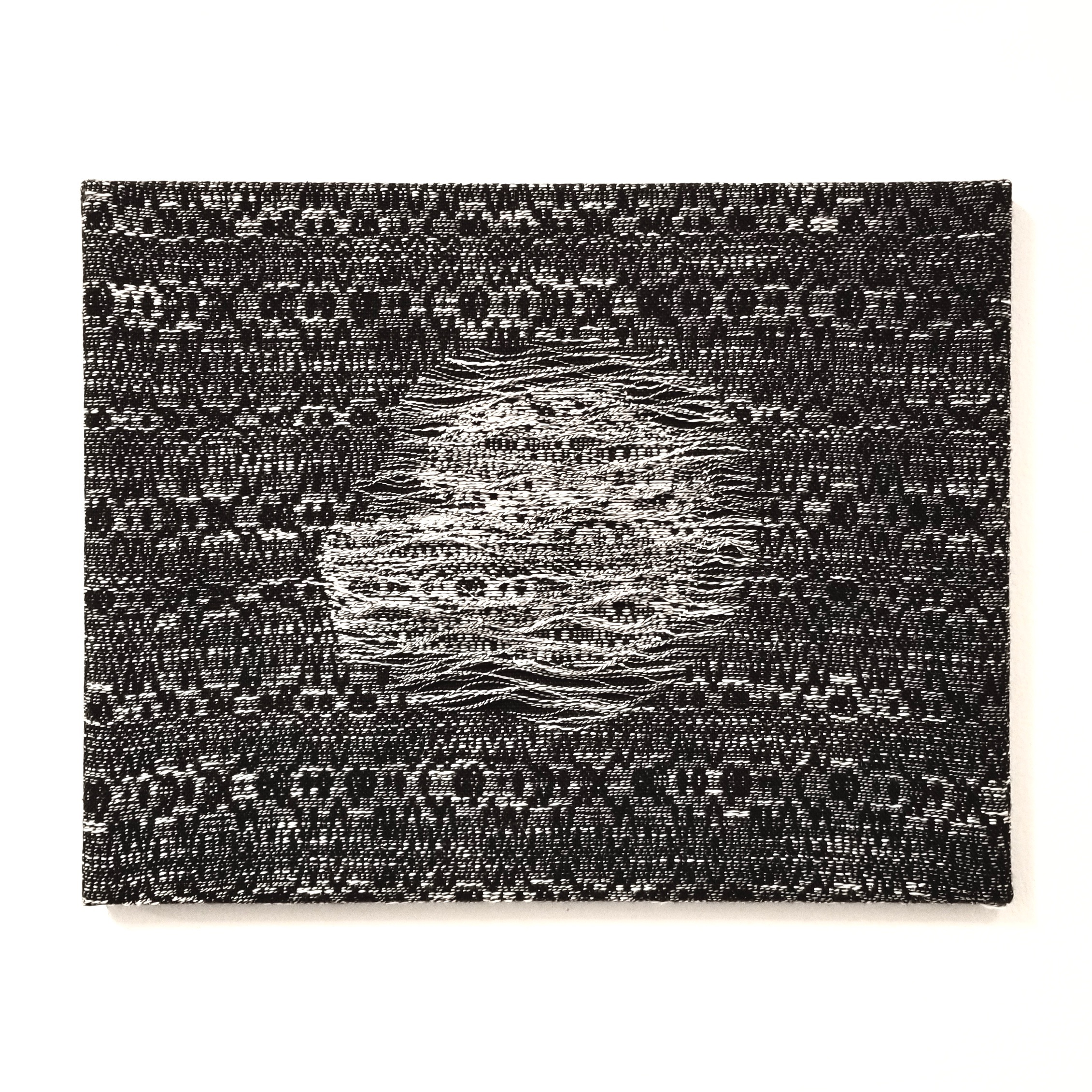 """Melt   2019  18"""" x 14"""" x 1""""  Handwoven wool, cottolin, and cotton"""