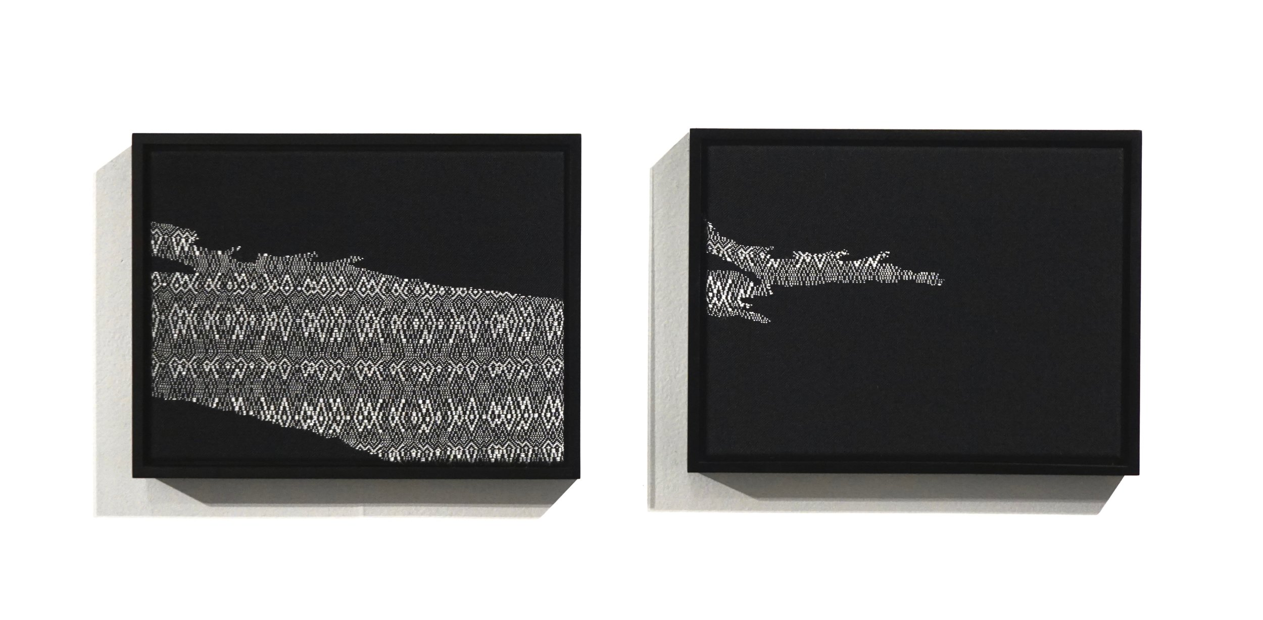 """Glacier Over Seven Years   2019  2 panel set, 17"""" x 13"""" x 2"""" each  Handwoven alpaca and cottolin"""