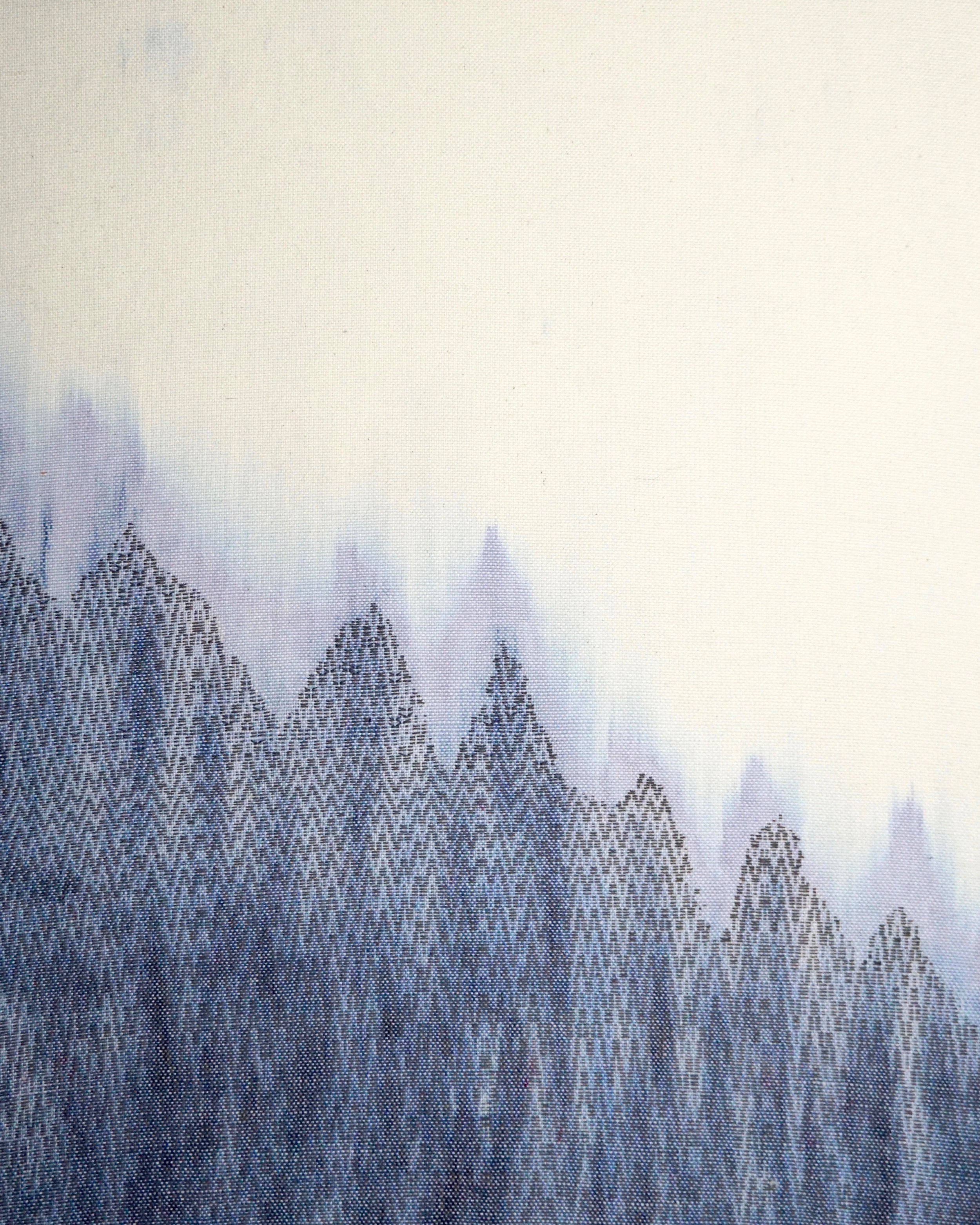"""Arctic Ice   2019  24"""" x 30""""  Handwoven wool and cotton"""