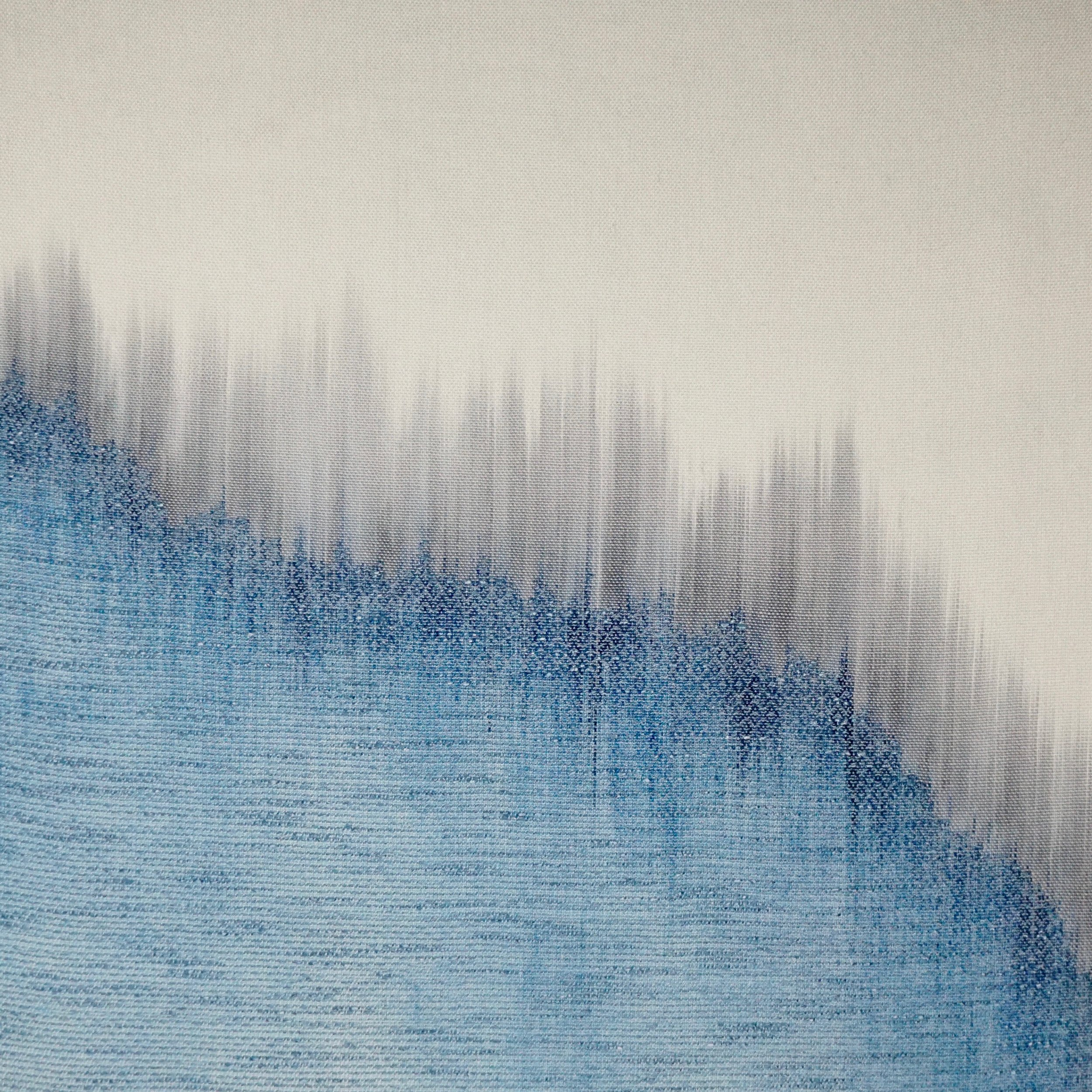 """Glacier Over Seventy Years   2019  24"""" x 24""""  Handwoven wool and cotton"""
