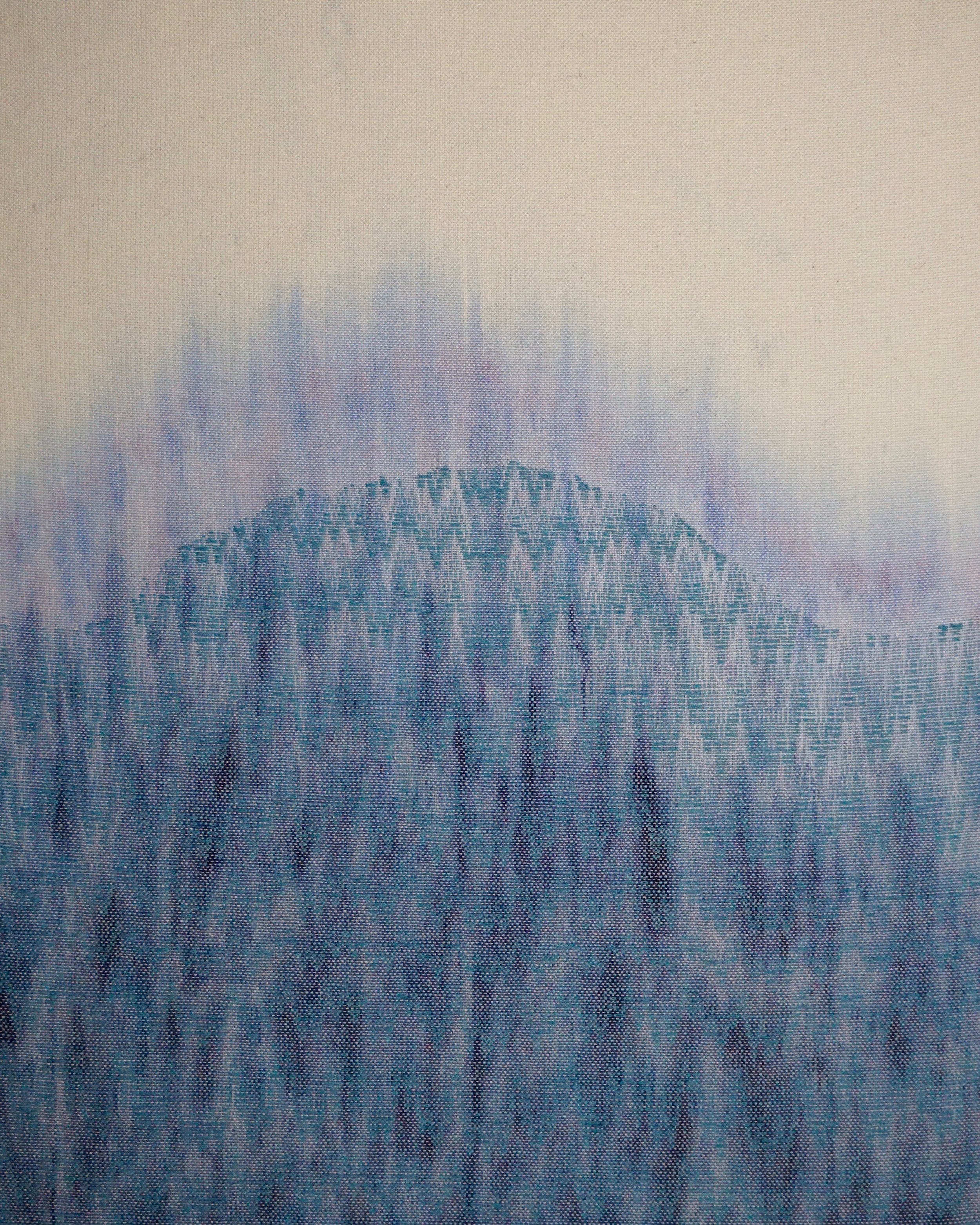 """Sea Level   2019  24"""" x 36""""  Handwoven wool and cotton"""
