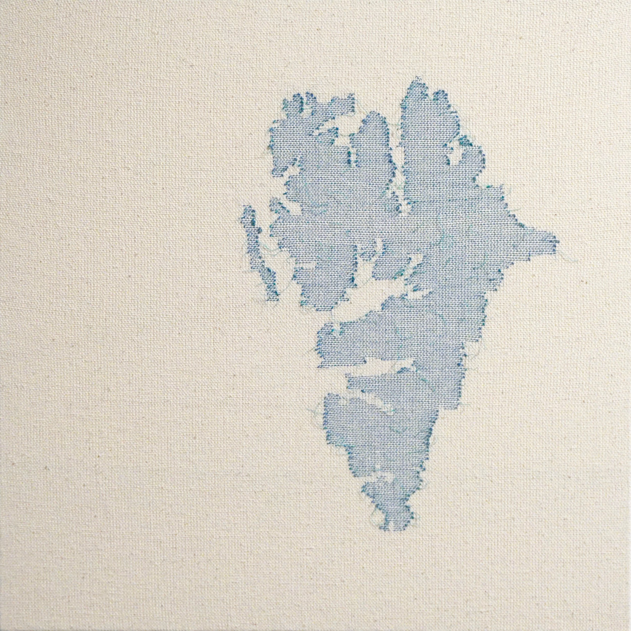"""Svalbard Plastic   2019  24"""" x 24""""  Handwoven cotton and found plastic rope"""