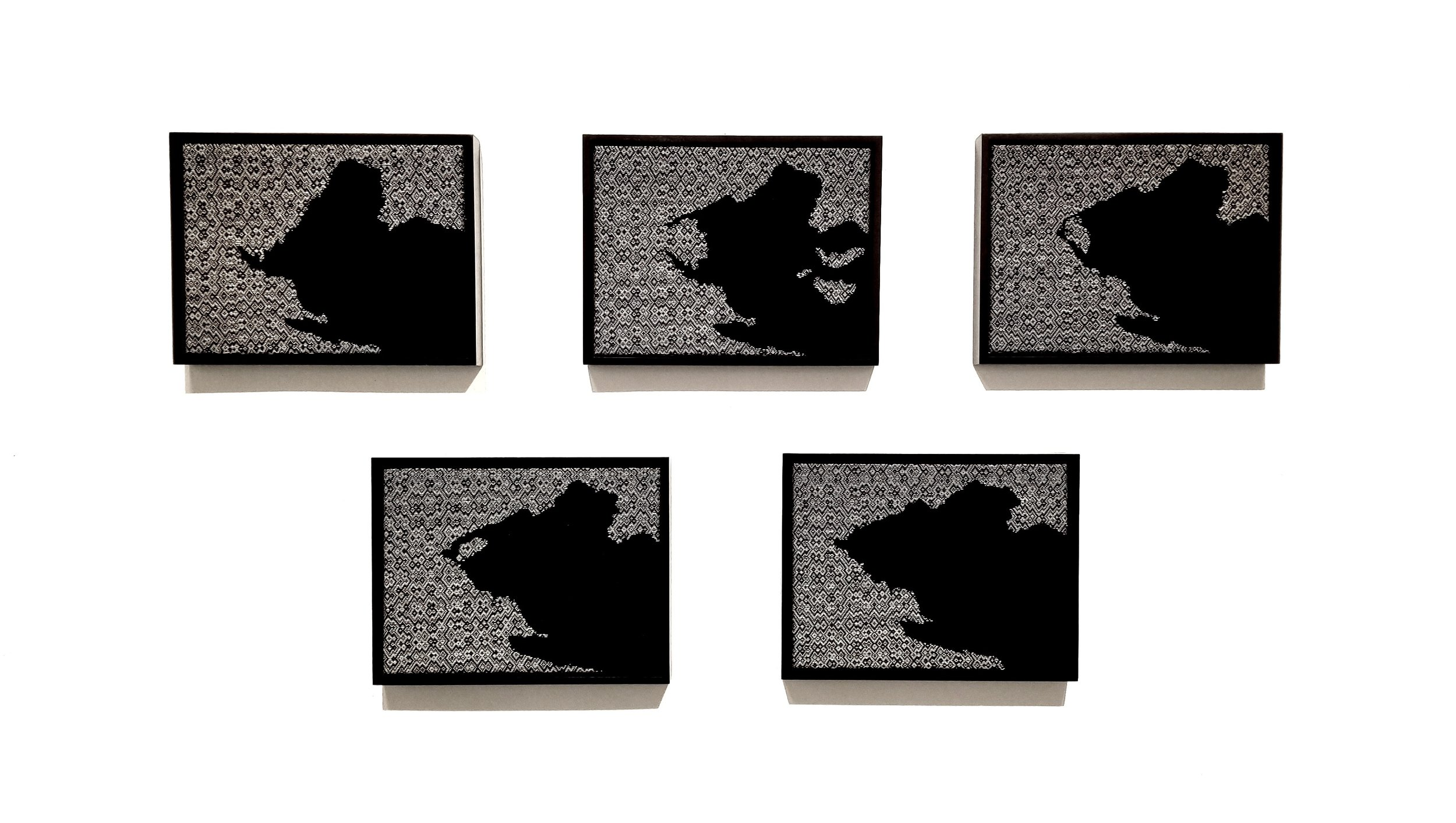 """(Ant)arctic Icebergs   2019  5 panel set, 17"""" x 13"""" x 2"""" each  Handwoven wool and cottolin"""