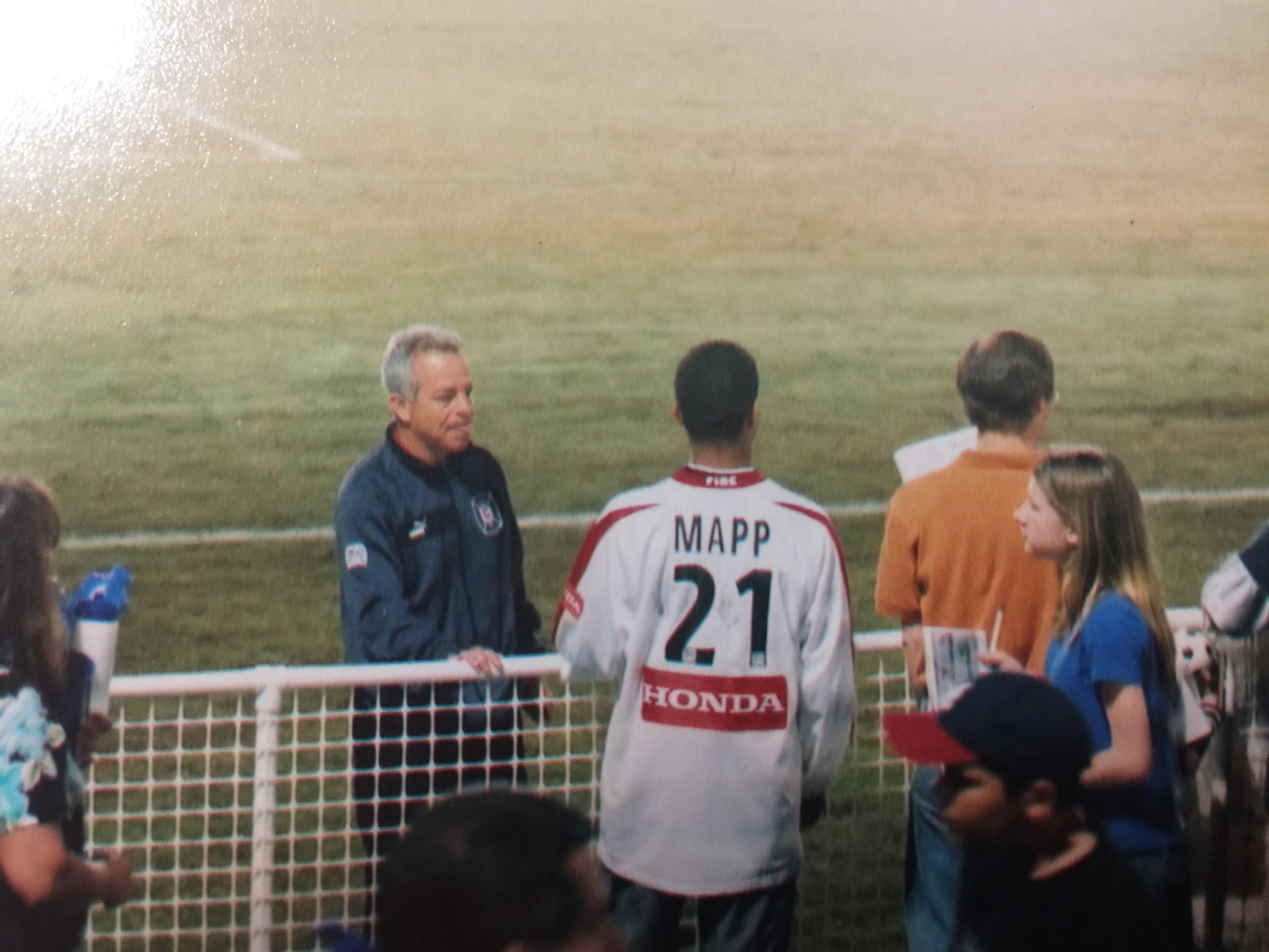 Here's me in that jersey I won talking with Coach Dave Sarachan (current USMNT coach). Dave was coaching the Fire then, and he remembered me from stalking his team practices during school hours.