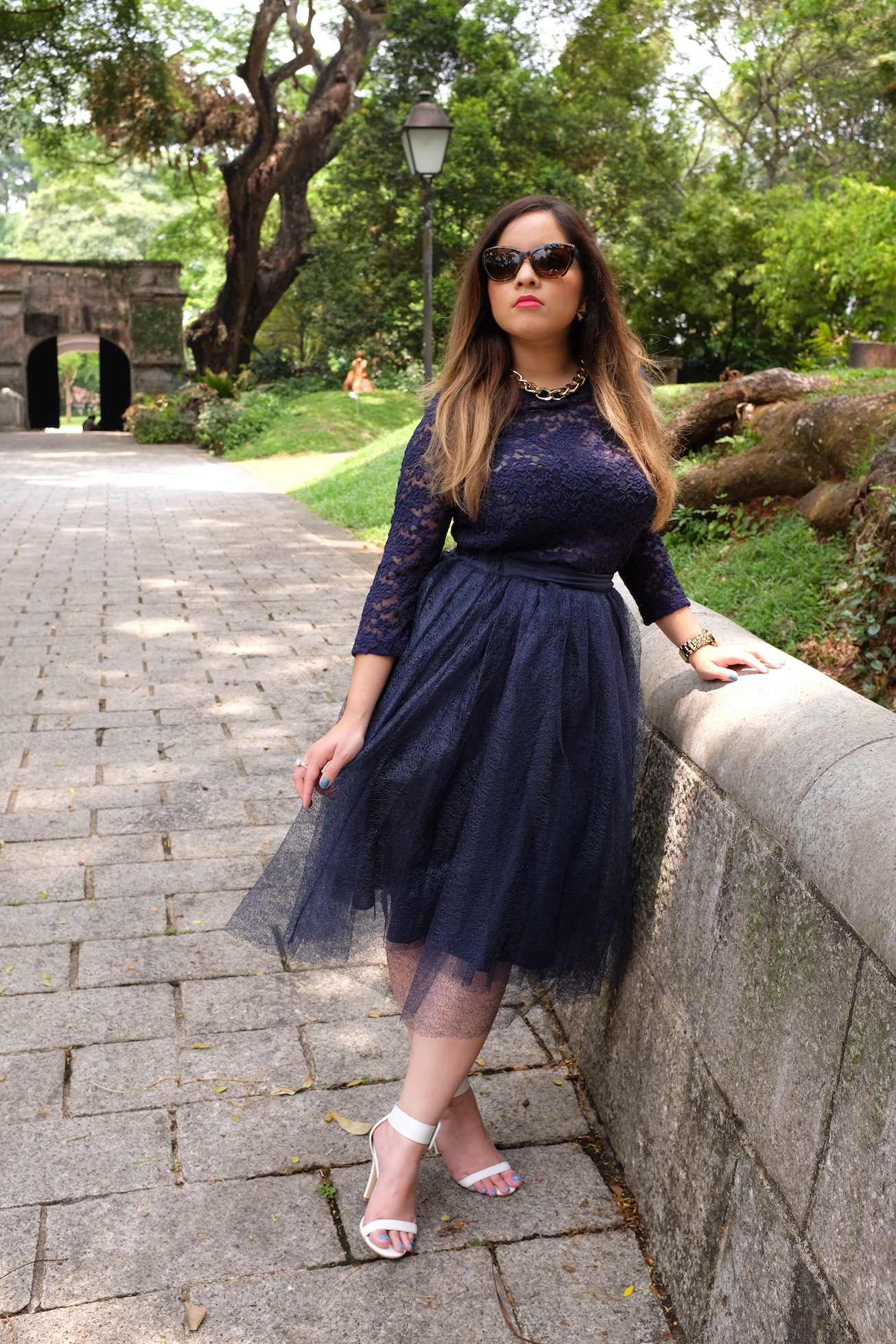 nezuki, lace, navy blue, navy, tulle skirt, tulle, lace top, lace skirt, heels, stilettos, high heels, sunglasses, prada, miu miu, chain, gold, bling, jewelry, jewellery, makeup, natural, elegant, japan, singapore, travel, fort canning, location, shoot, photo shoot, photography, fashion, fashion photography, style, outfit shot, outfit, blogger, Australia, Australian blogger, perth, natural, gardens, landscape photography, Fuji x100s, Fuji, street style, glam, get the look, blogger look, on trend, inspiration, dream, inspo