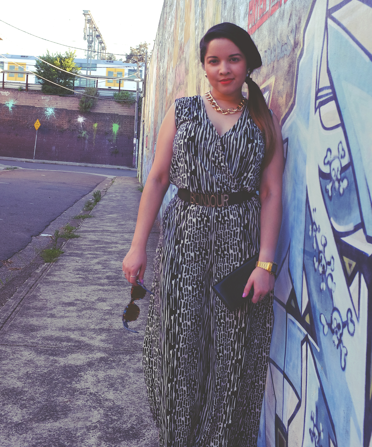nezuki, fashion, jumpsuit, playsuit, vintage, ysl, clutch, second hand, style, street style, graffiti, art, street styling, street art, sydney, sydney blogger, sunglasses, Chinese new year, kung fu, movie, movie poster, cinephile, aerosol art, sydney fashion blogger, casio watch, hair, makeup inspo, lipstick
